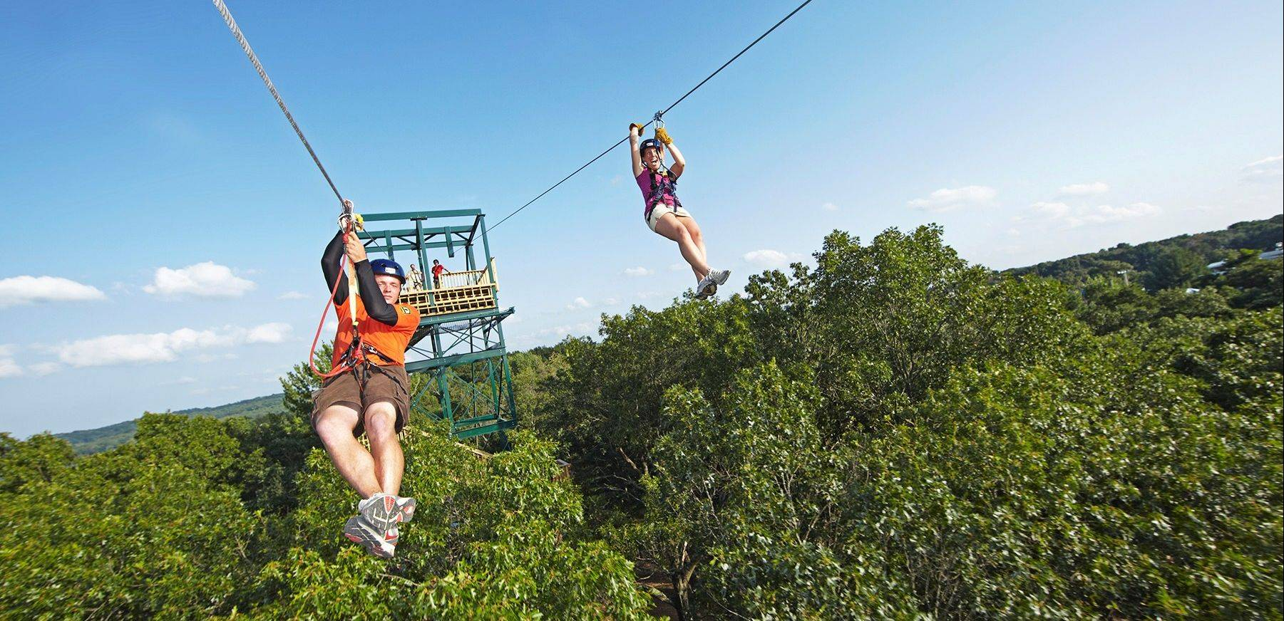 Bigfoot Zipline takes participants over water.