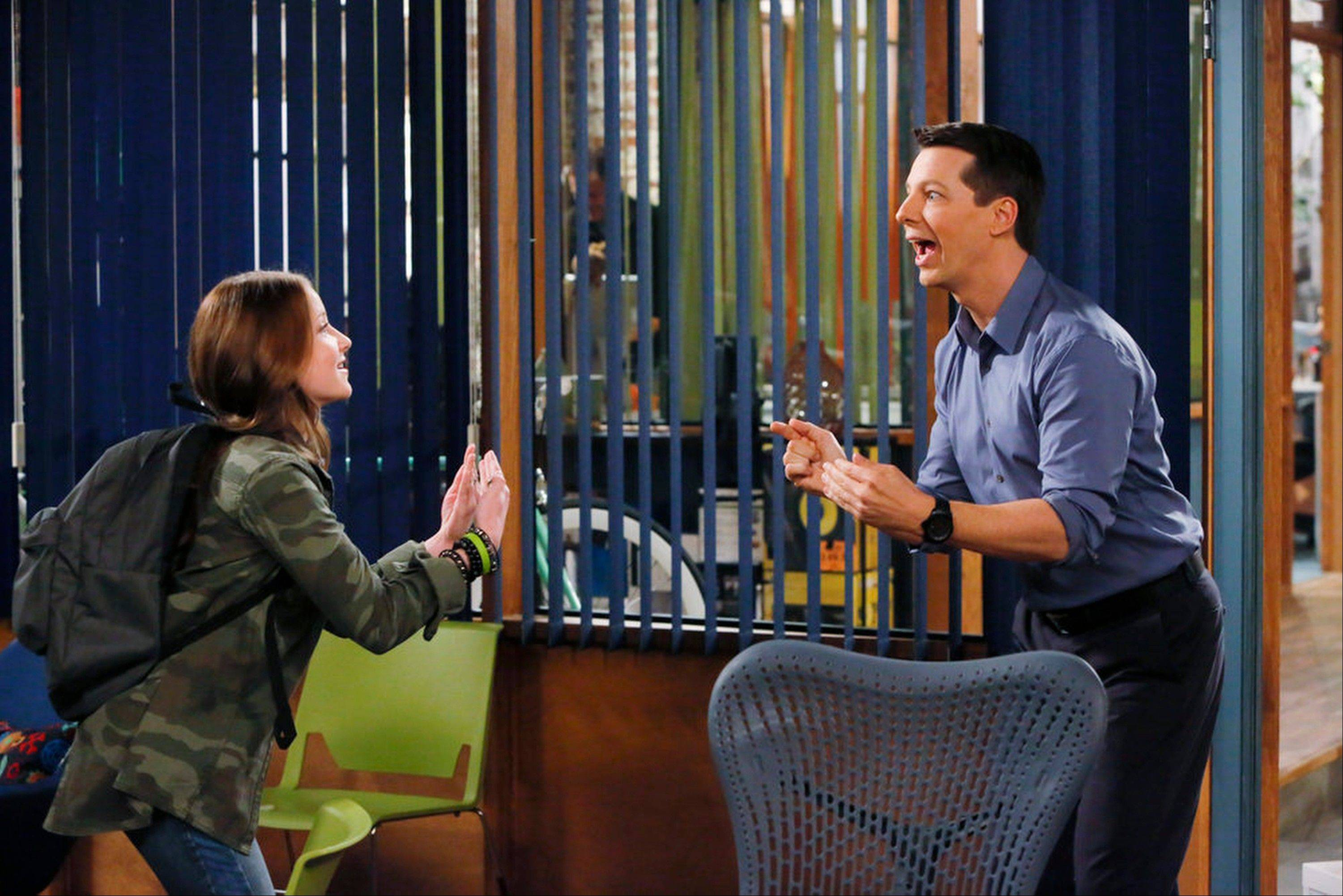 "Samantha Isler plays Ellie and Sean Hayes is Sean in ""Sean Saves The World,"" premiering at 8 p.m. Thursday, Oct. 3."