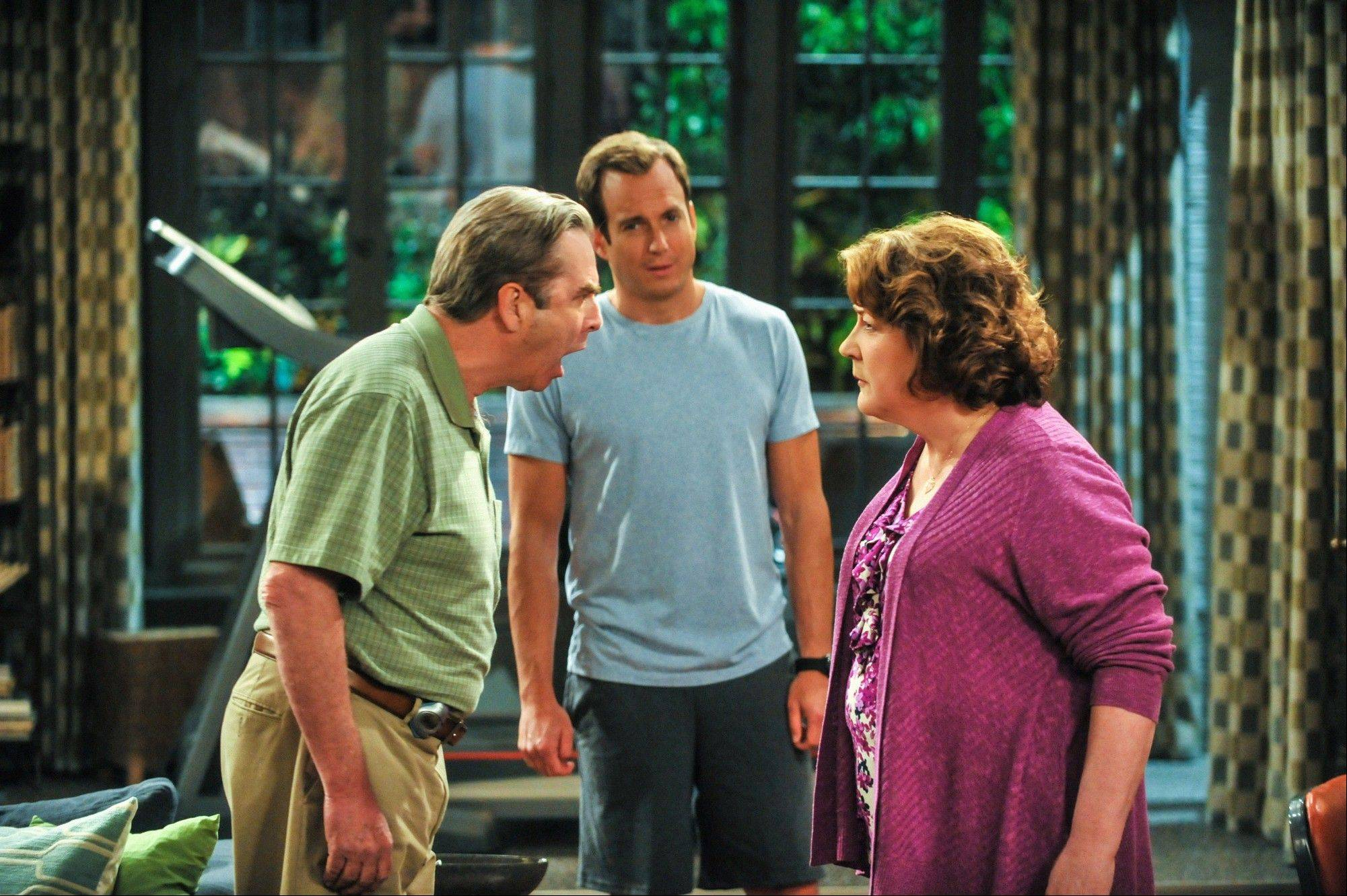 Beau Bridges, left, Will Arnett and Margo Martindale star in the CBS comedy �The Millers,� which debuts Thursday. Arnett and Martindale play a son and mother who become unlikely roommates after marital breakups.