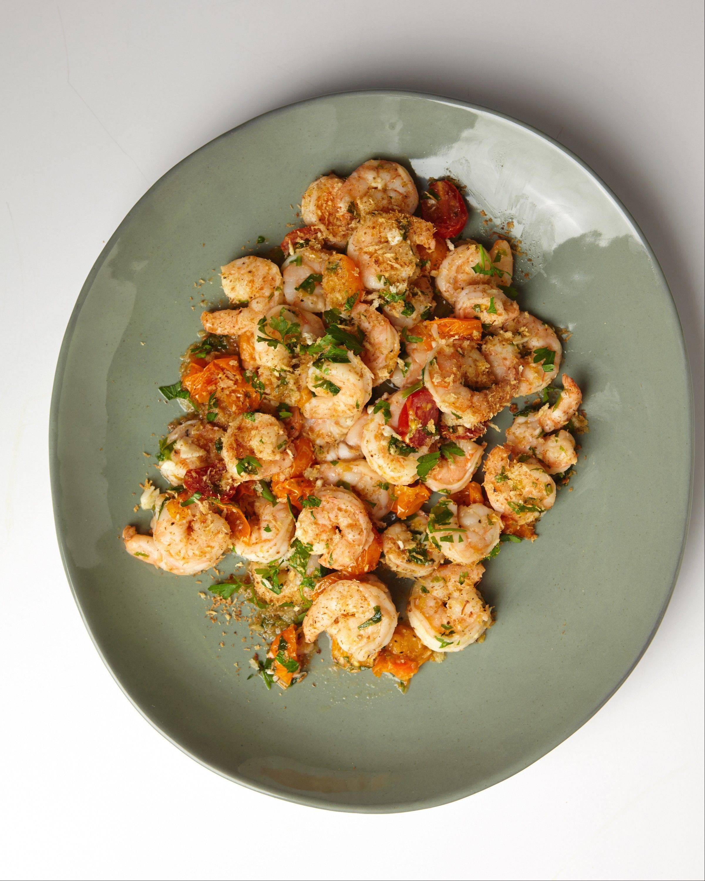 Garlic Crusted Shrimp with Cherry Tomatoes comes together in 20 minutes.