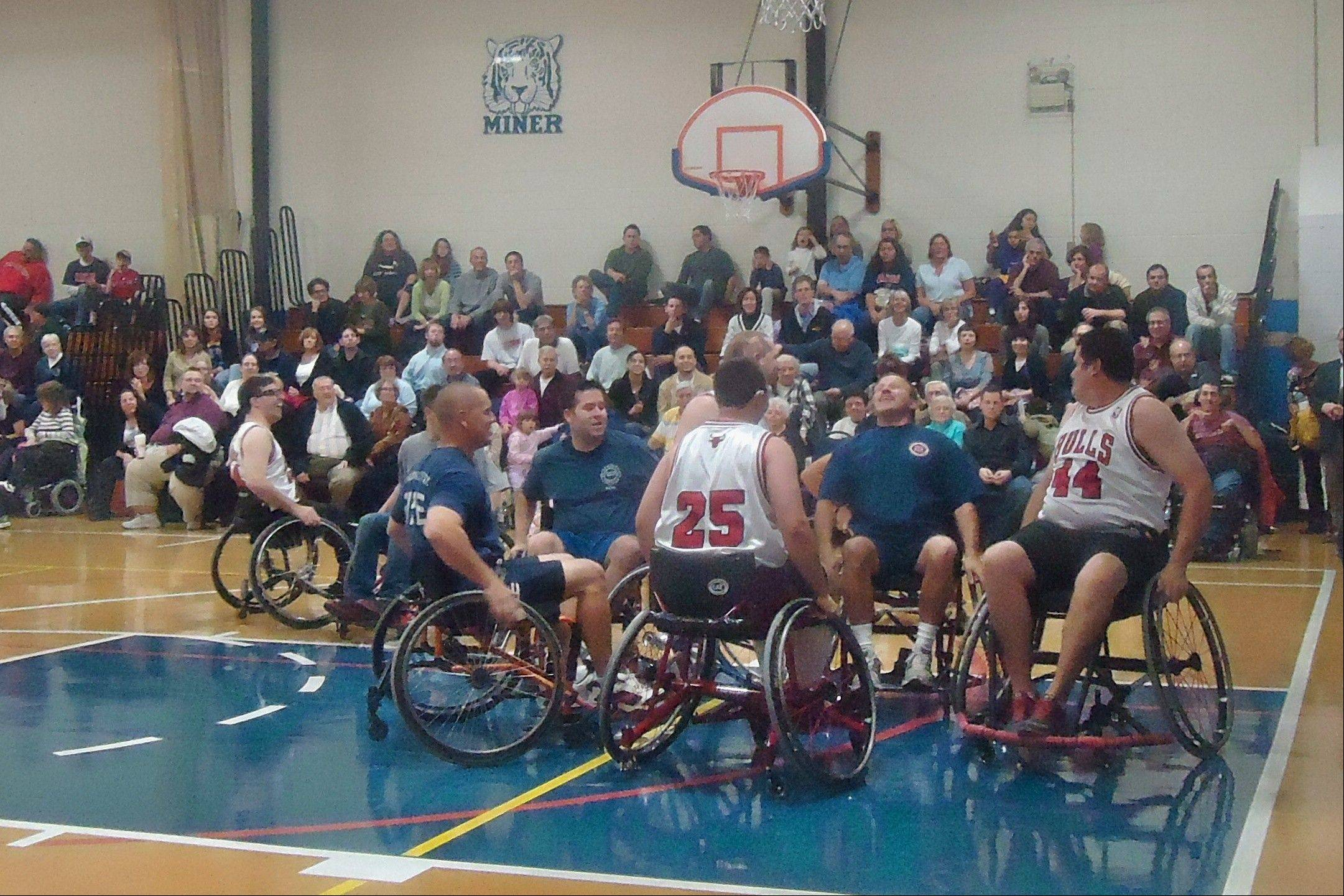 The Chicago Wheelchair Bulls will take on a team of Arlington Heights firefighters Saturday night during a fundraiser at St. Viator High School. The event raises money to support the Wheelchair Bulls and their efforts to make athletic opportunities available for kids with disabilities.