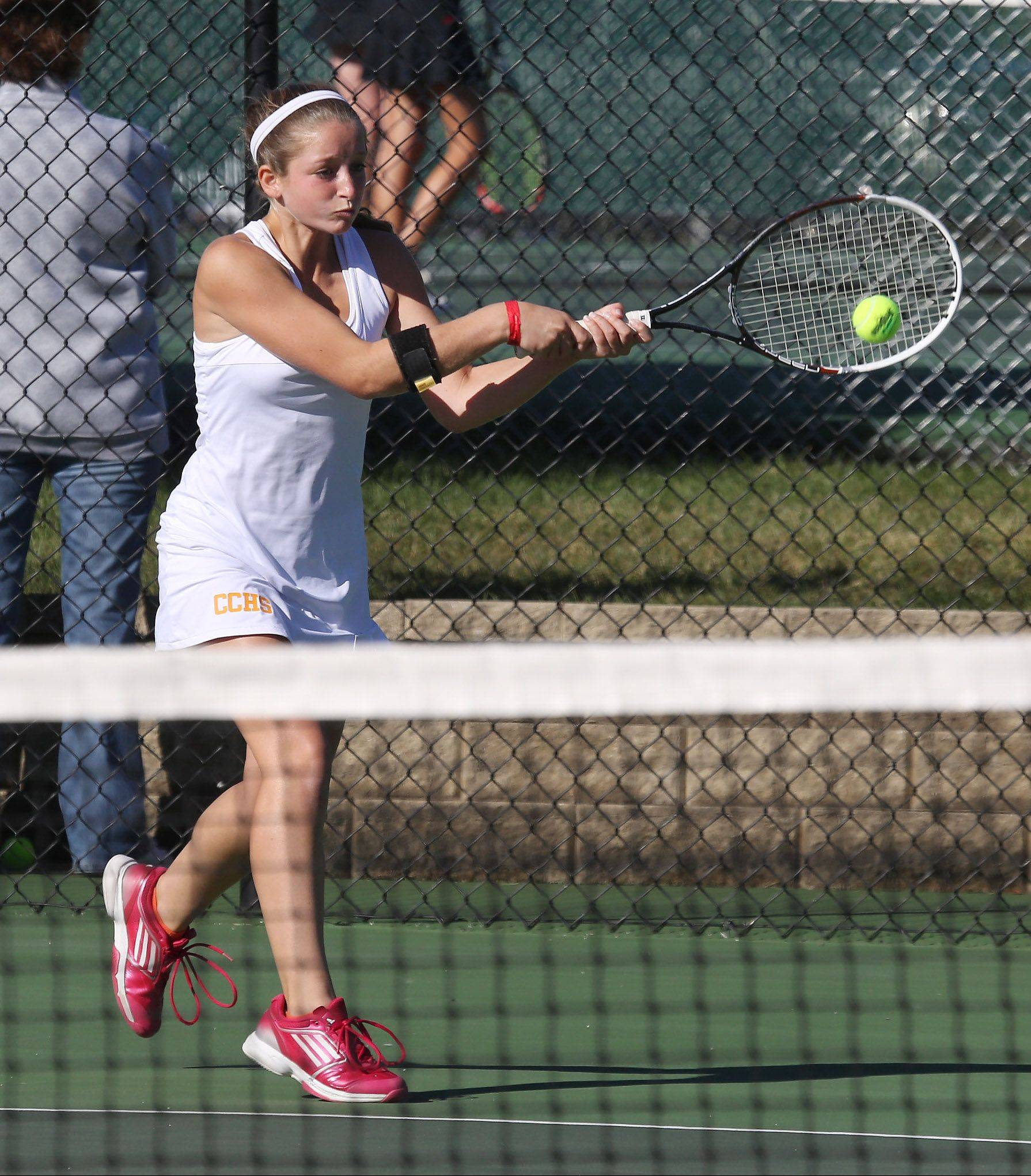 Carmel's Christina Rao returns a shot against Barrington's Michelle Linden in September.