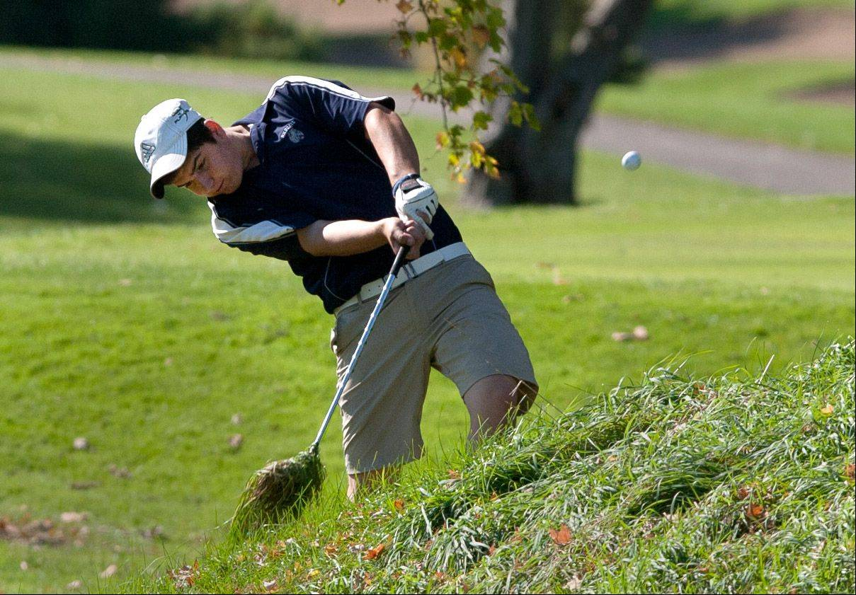 West Chicago�s Dino Parducci approaches the green during the Upstate Eight Conference boys golf tournament at St. Andrews Country Club in West Chicago.