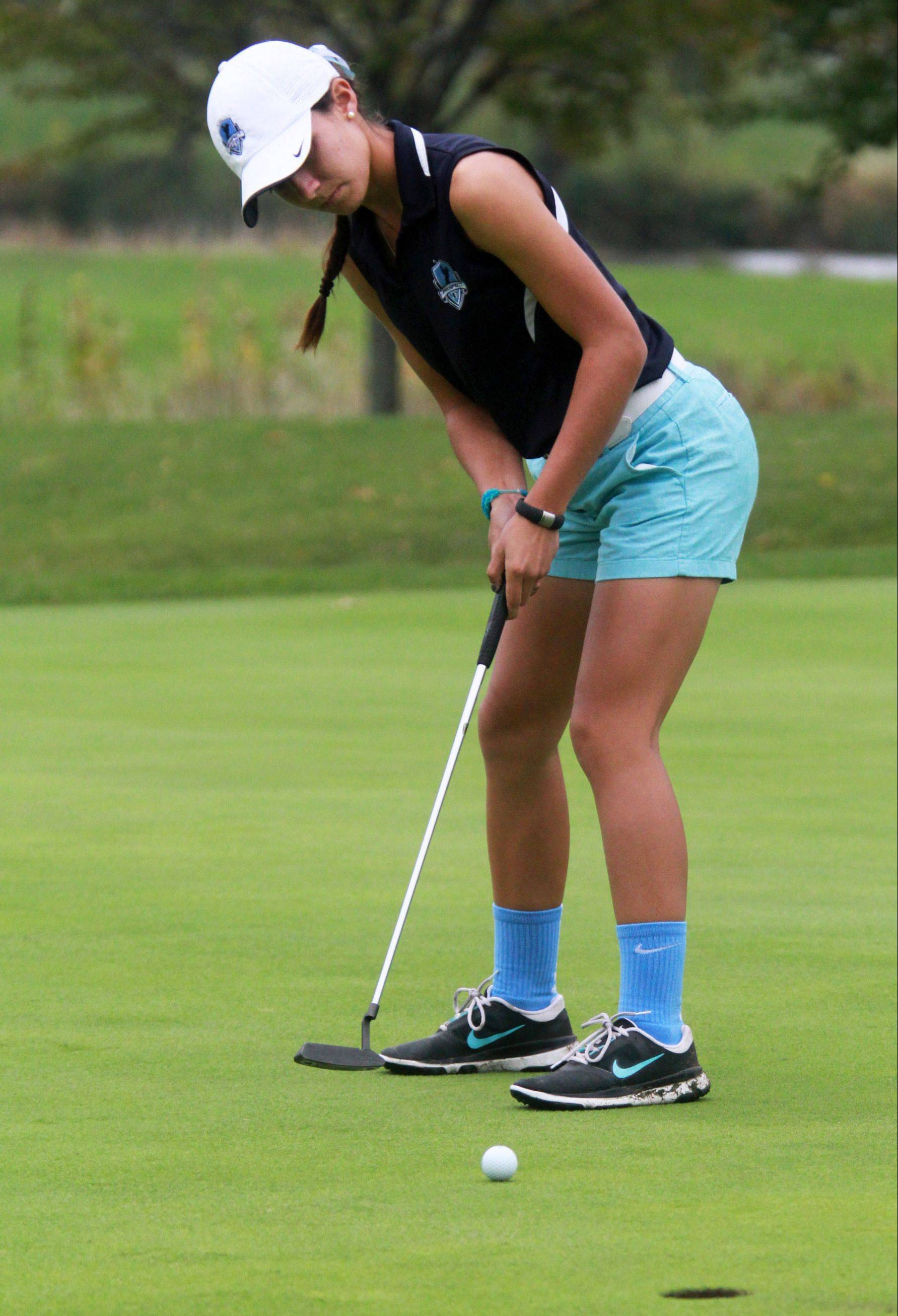 Prospect's Ally Scaccia putts on No. 9 at Fox Run Golf Course during her winning effort in Tuesday's Mid-Suburban League meet.