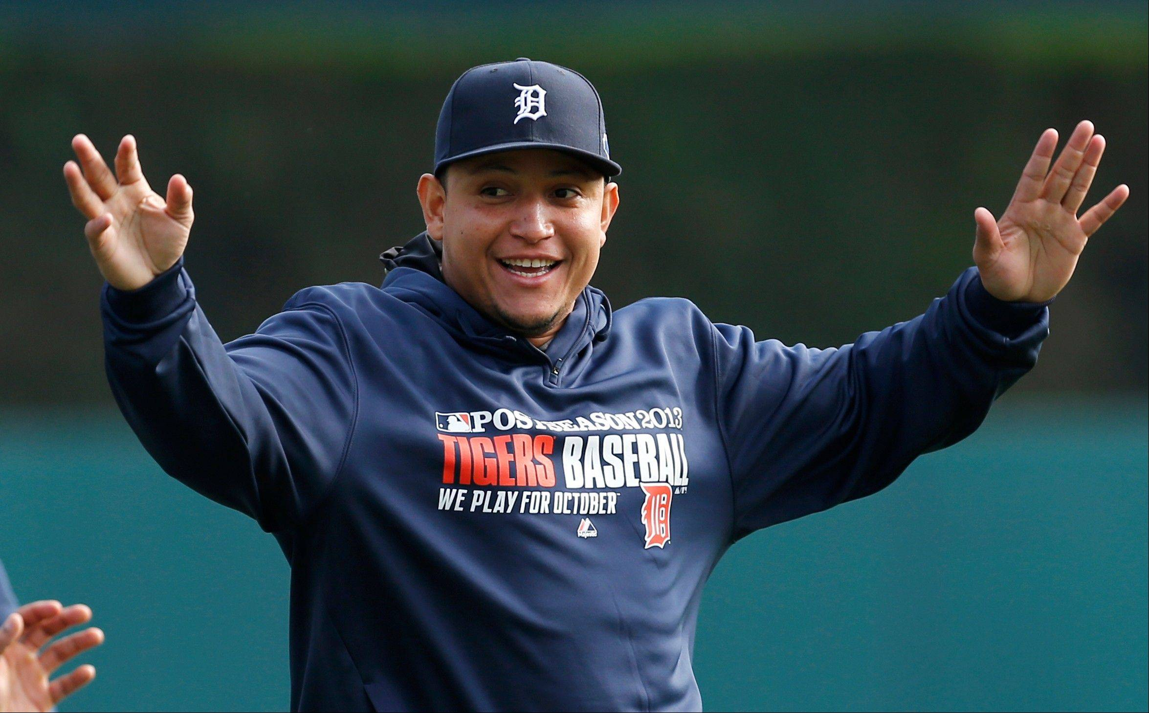 Miguel Cabrera stretches during baseball practice Tuesday in Detroit. The Tigers play the Oakland Athletics in the AL division series starting Friday.