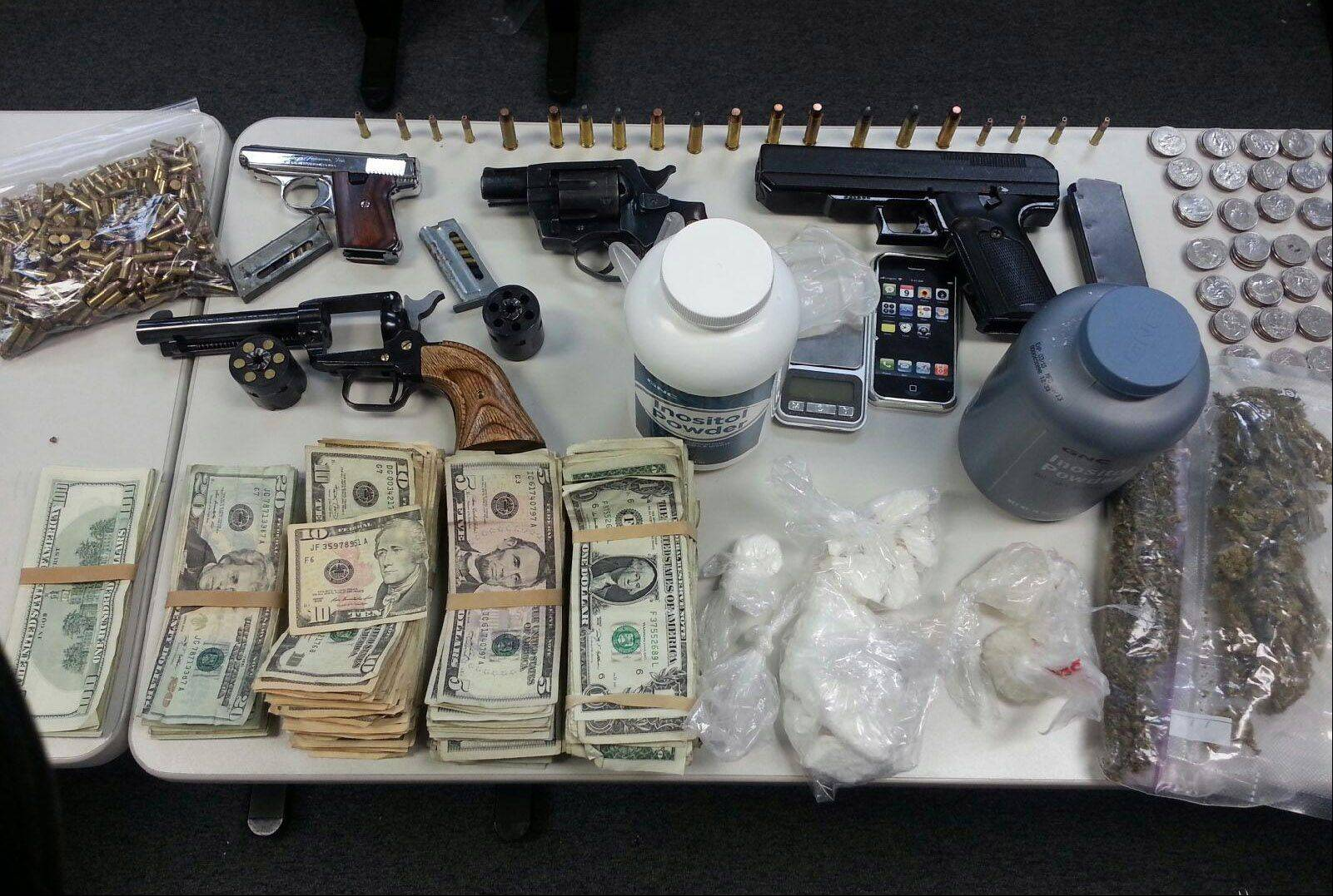 Drugs and weapon are among the items seized by Round Lake Park Police during the arrest of a McHenry man, who was initially stopped for littering.