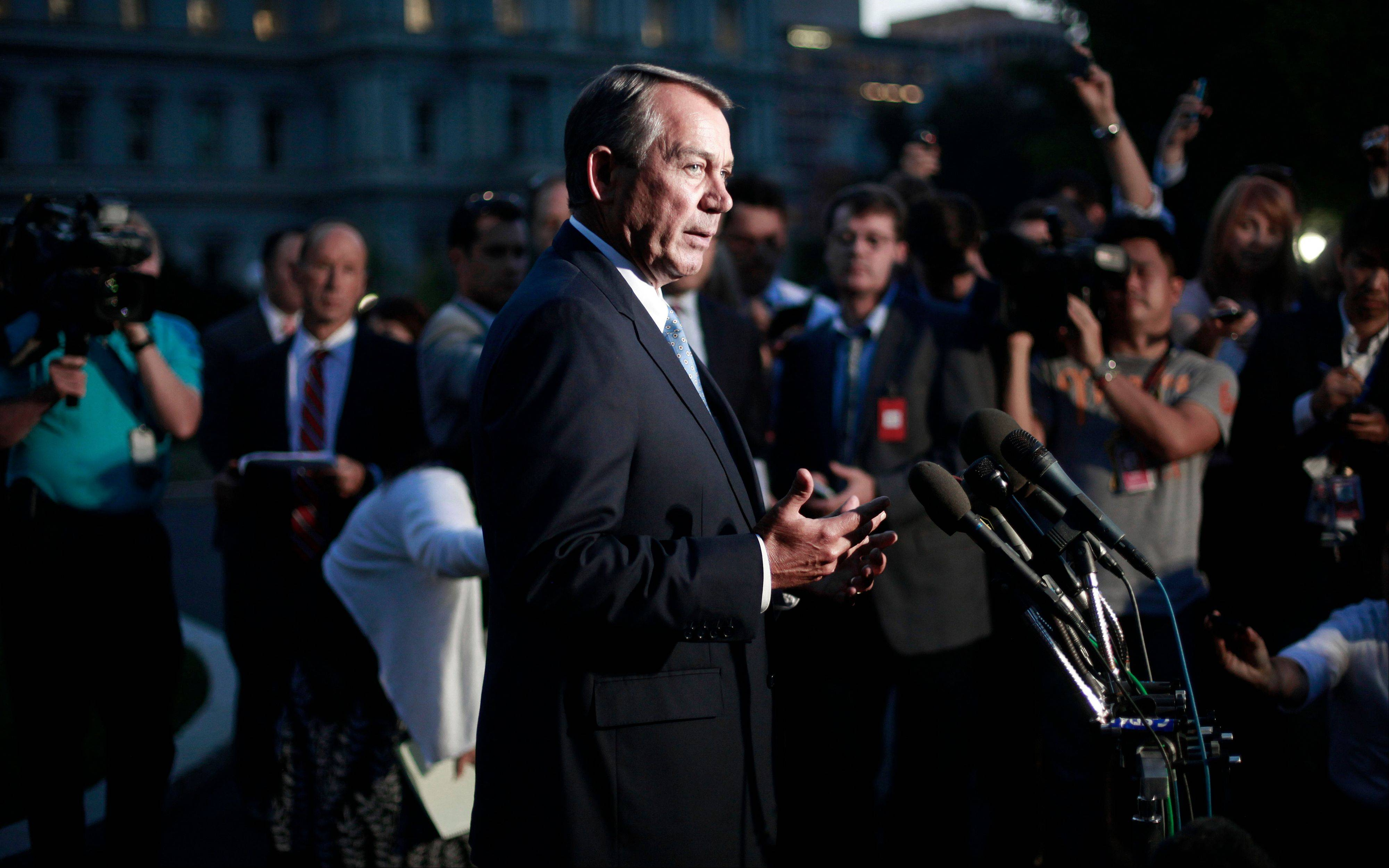 House Speaker John Boehner speaks to members of the media after meeting with President Barack Obama at the White House on Wednesday. Republicans insisted they wanted to shut down the nation's 3-year-old health care overhaul, not the government. They got the opposite.