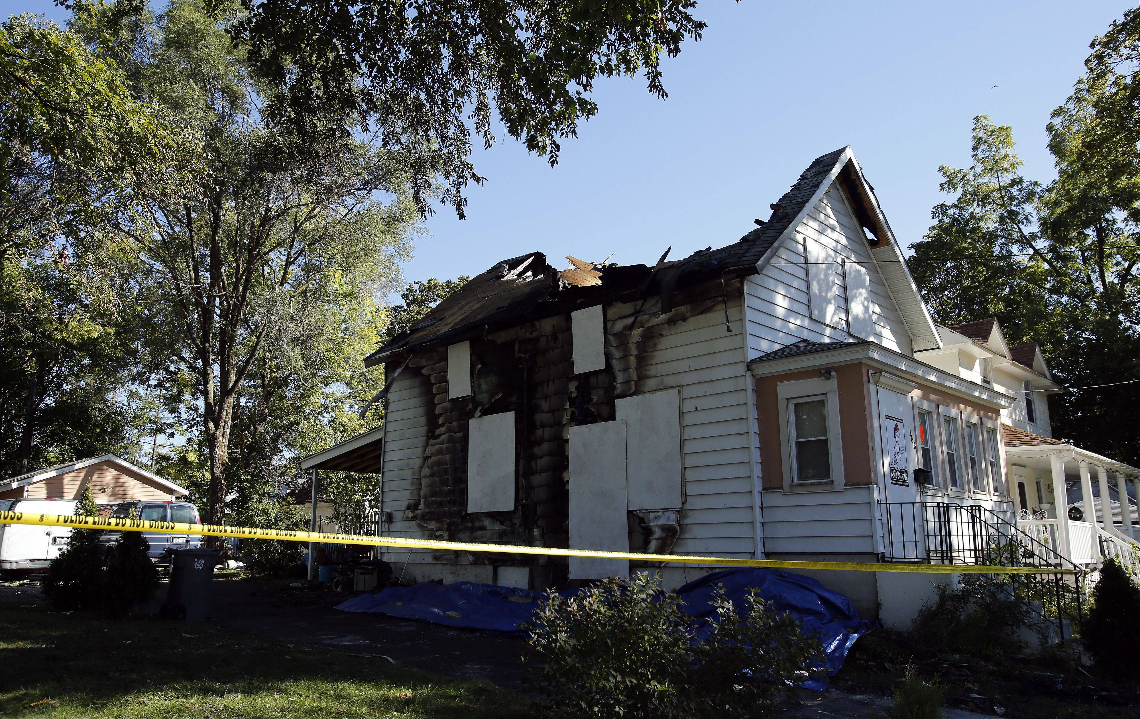 A Tuesday evening fire damaged a house in the 300 block of May Street in Elgin.