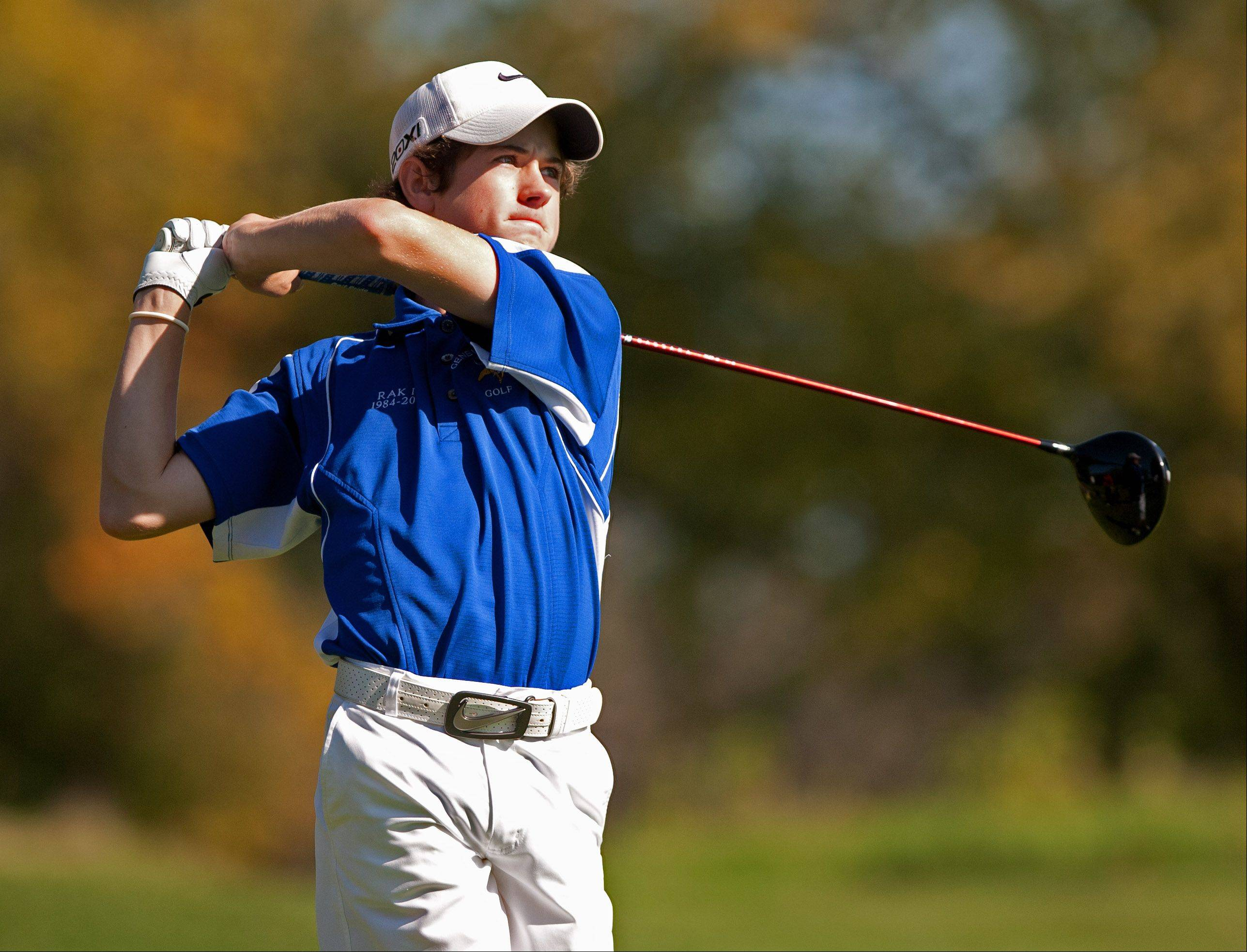 Geneva's Graham Lillibridge hits away during the Upstate Eight Conference boys golf tournament at St. Andrews Country Club in West Chicago.