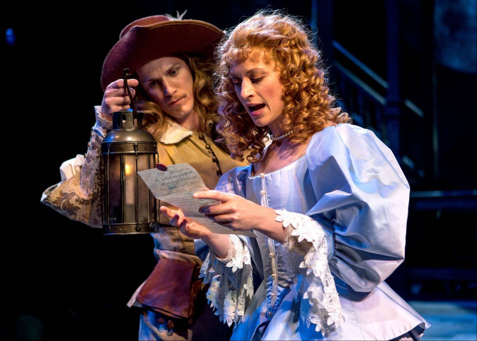 "Nick Dillenburg plays Christian, the handsome soldier infatuated with the lovely Roxanne (Julie Jesneck) in Chicago Shakespeare Theater's production of Edmond Rostand's ""Cyrano de Bergerac."""