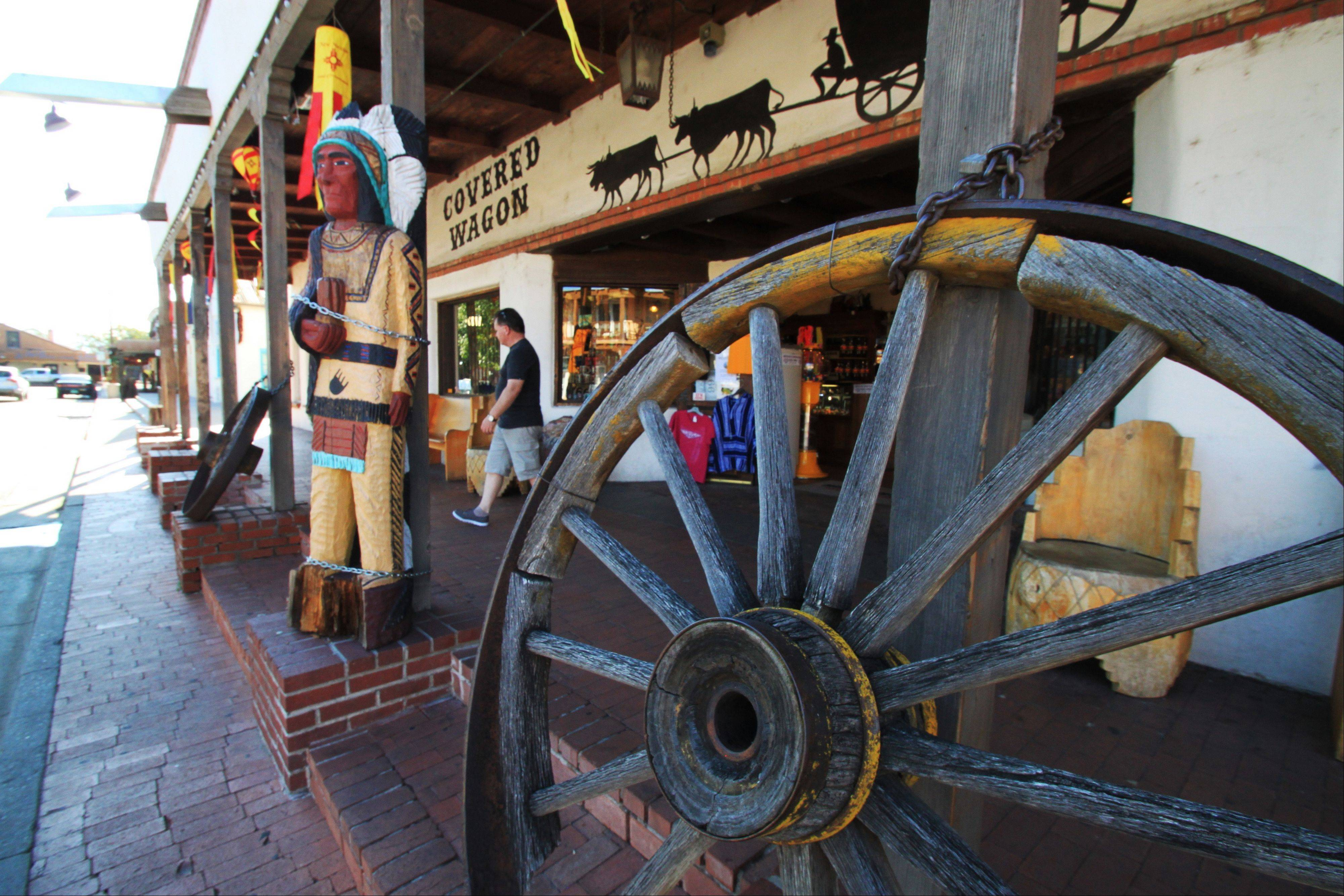 The Old Town Plaza area boasts shops and restaurants as well as brick sidewalks and a collection of adobe buildings.