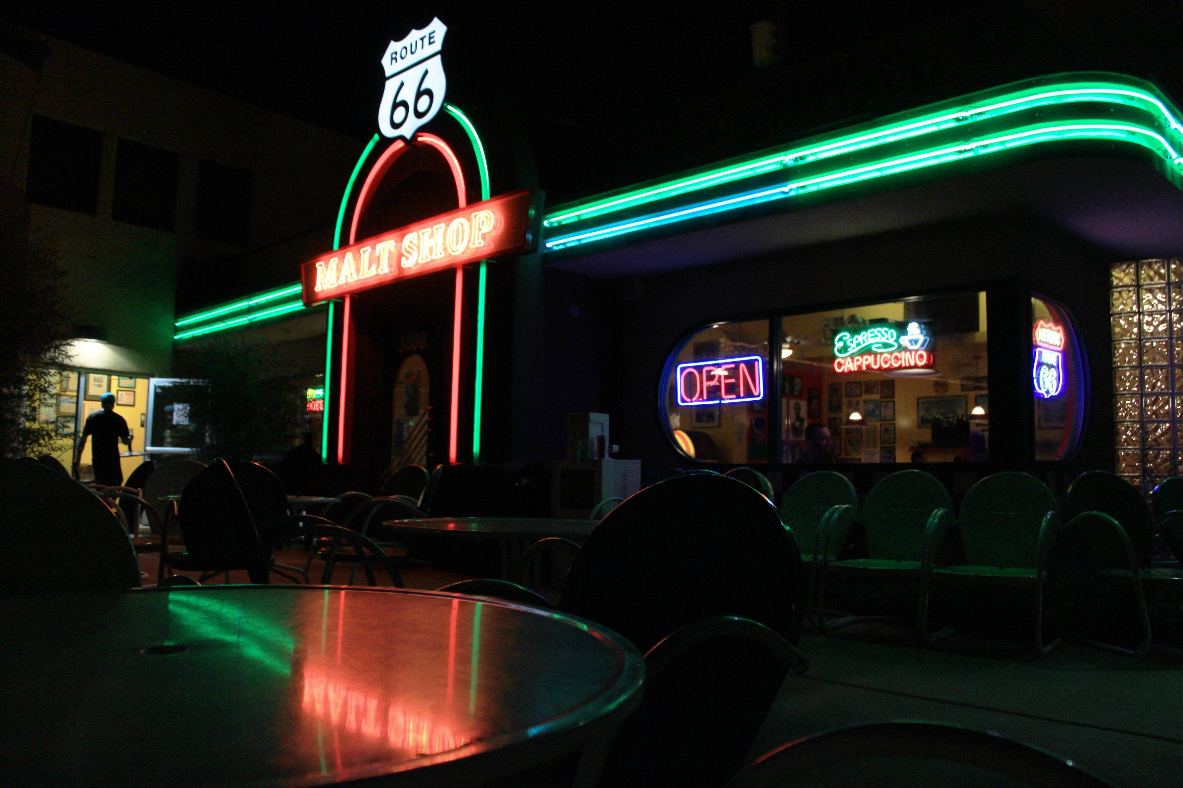 A self-guided tour along Route 66 offers boutiques, restaurants like the Route 66 Malt Shop and a variety of neon signs, many of them vintage.