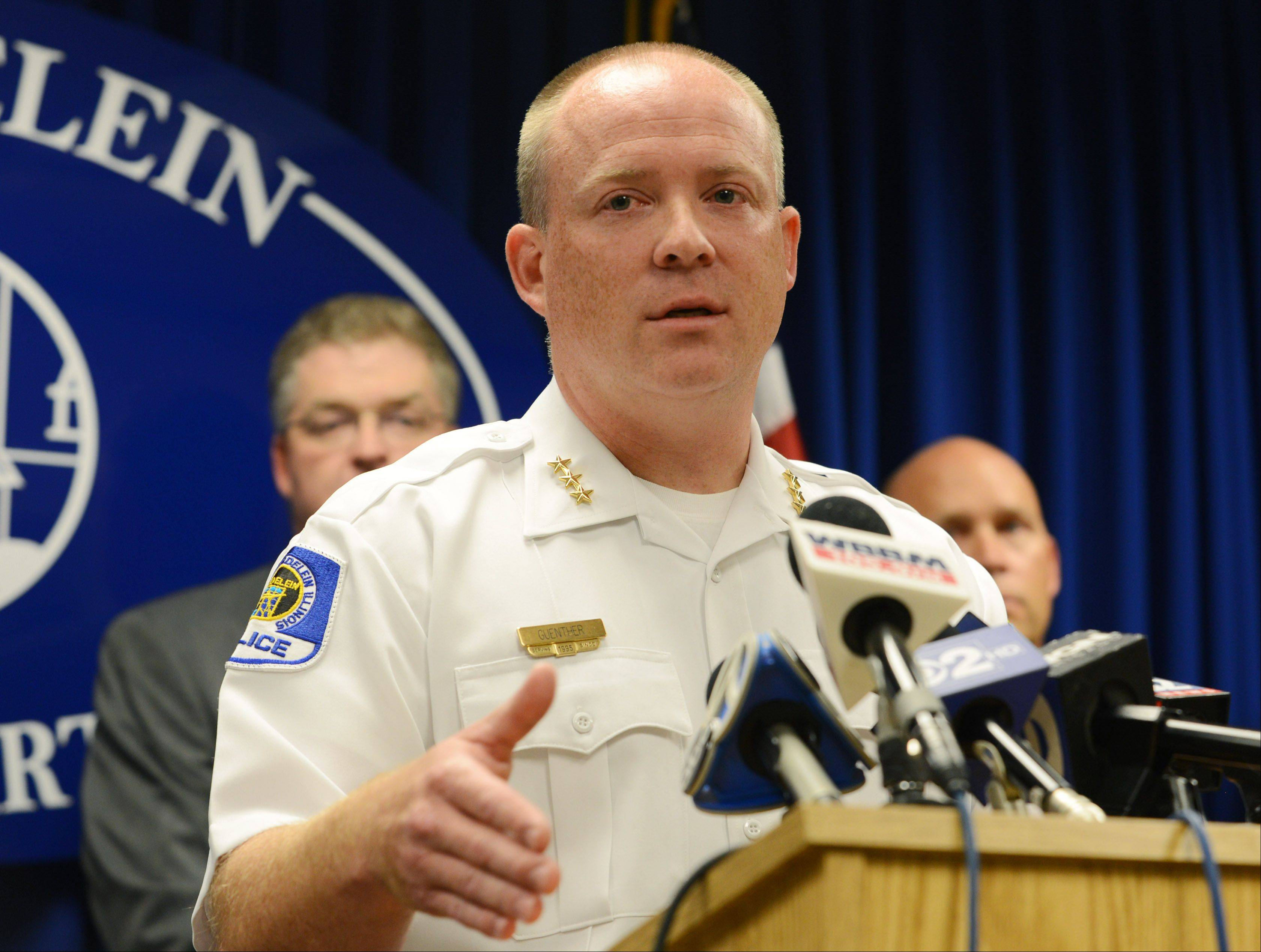 Mundelein Police Chief Eric Guenther speaks at a news conference Thursday about the arrest of a suspect in the child abduction case.