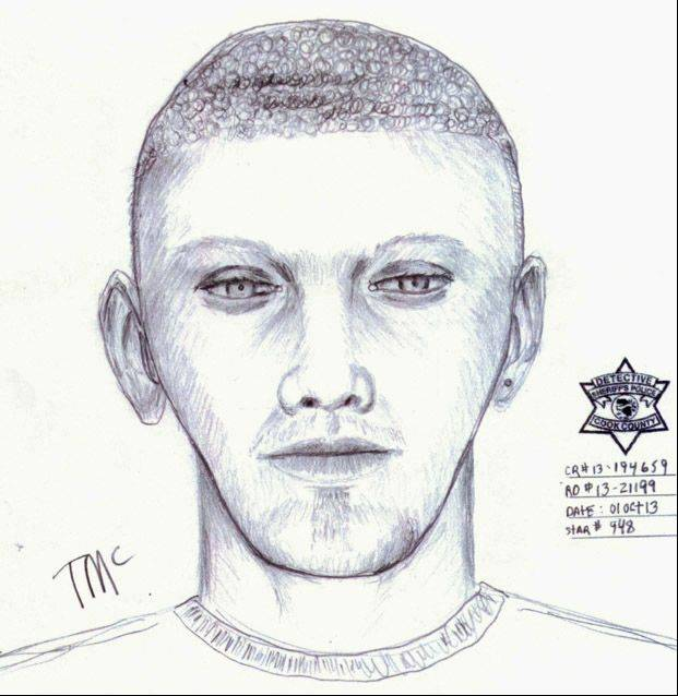 A police sketch of the suspect in the kidnapping.