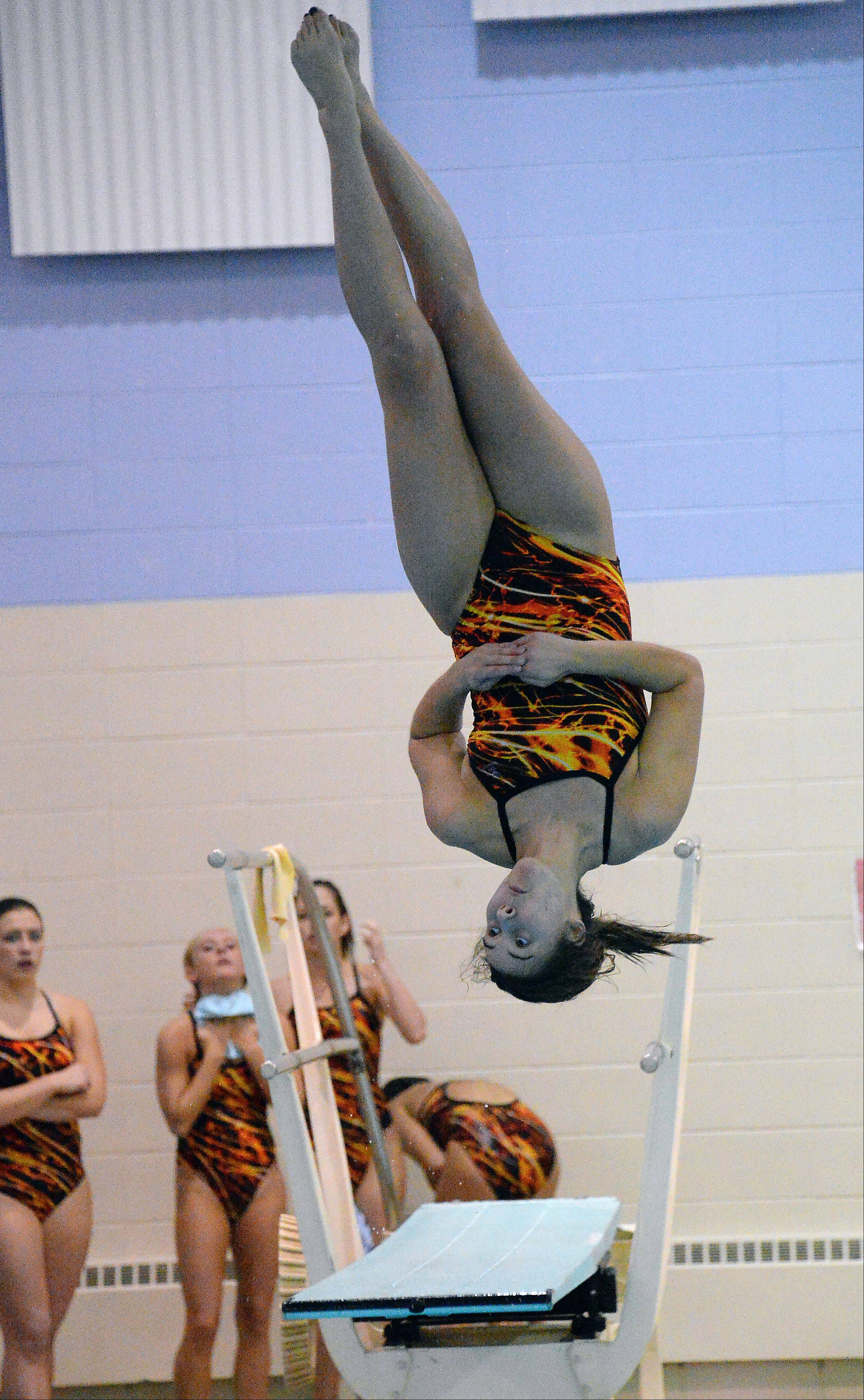Hersey's Hannah Bovino eyes the water in the diving competition against Prospect at Olympic Pool in Arlington Heights on Thursday.