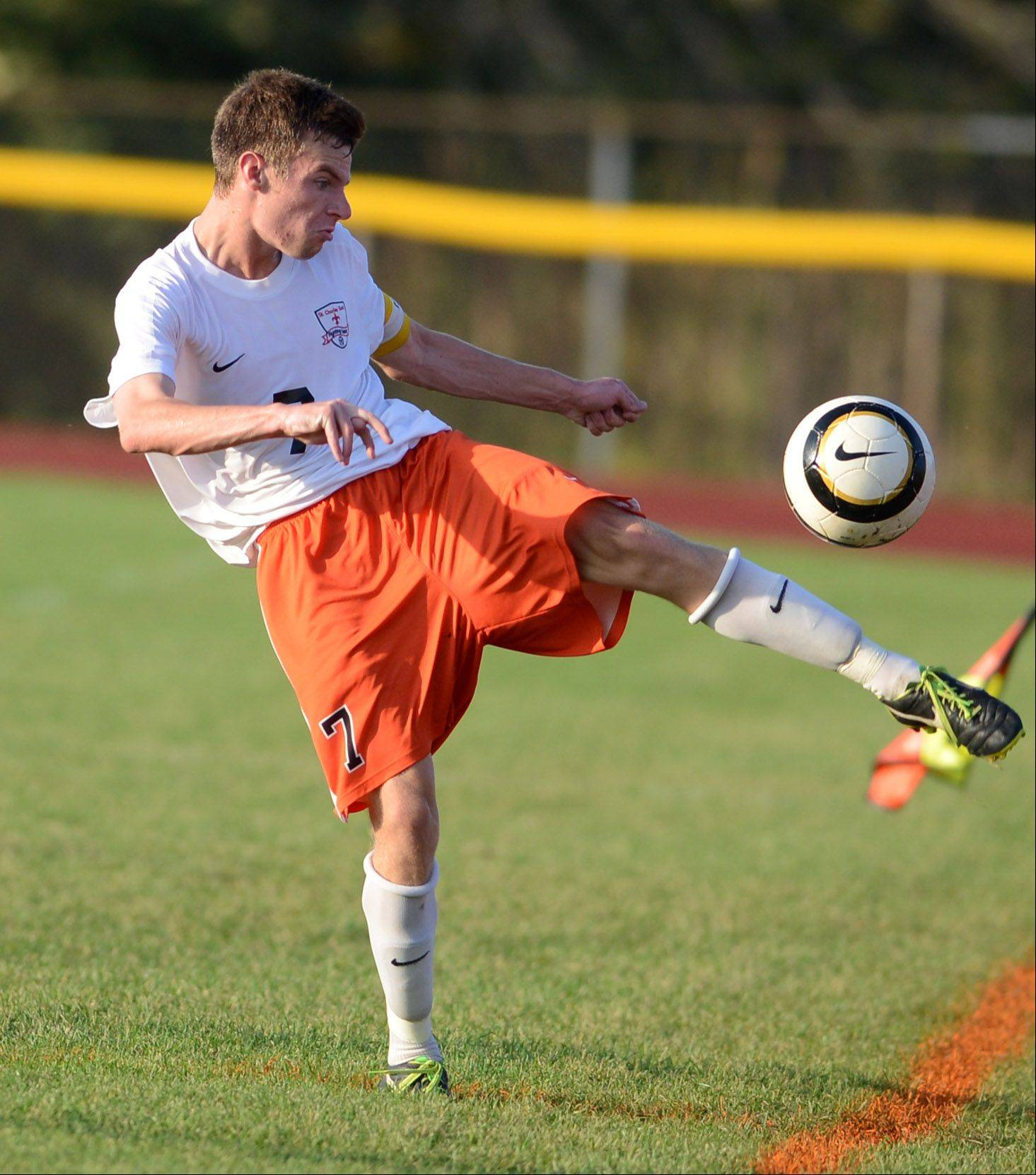 St. Charles East's Jacob Sterling clears the ball against Streamwood during Thursday's game in St. Charles.