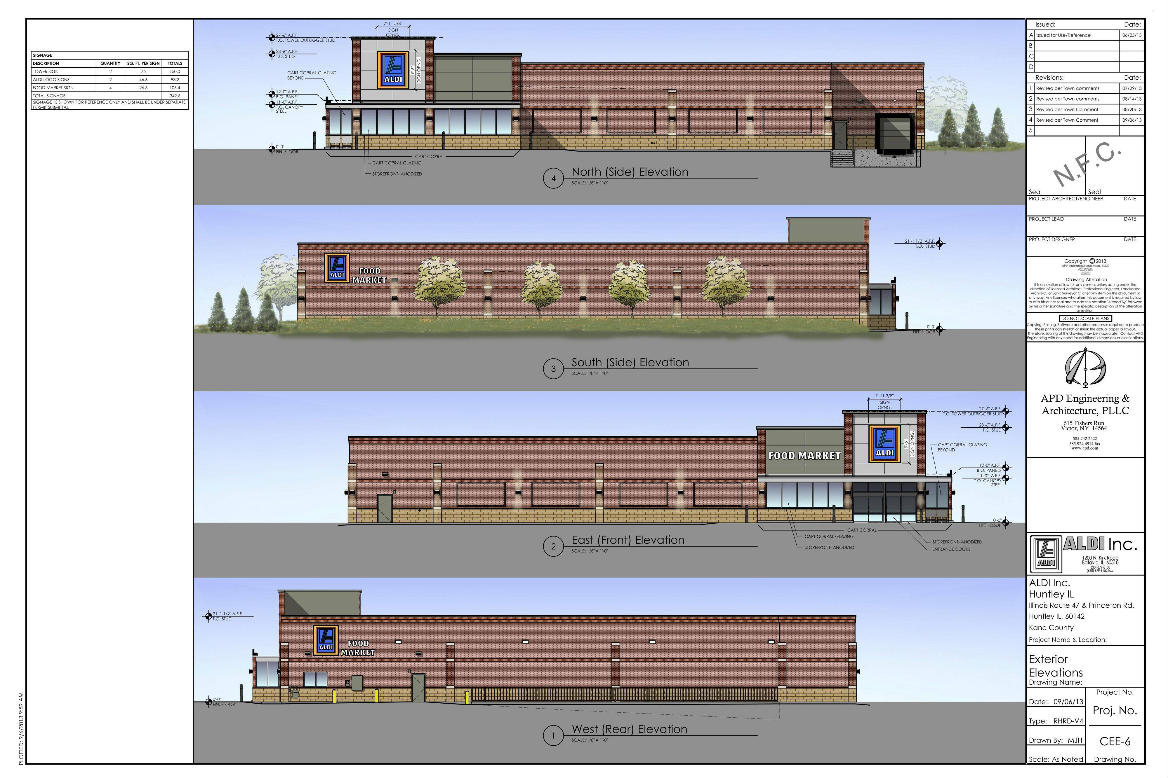 Artist rendering for a 17,014-square-foot Aldi�s Food Market proposed for the Regency Square commercial and business park, west of Route 47 and south of Kreutzer Road in Huntley.