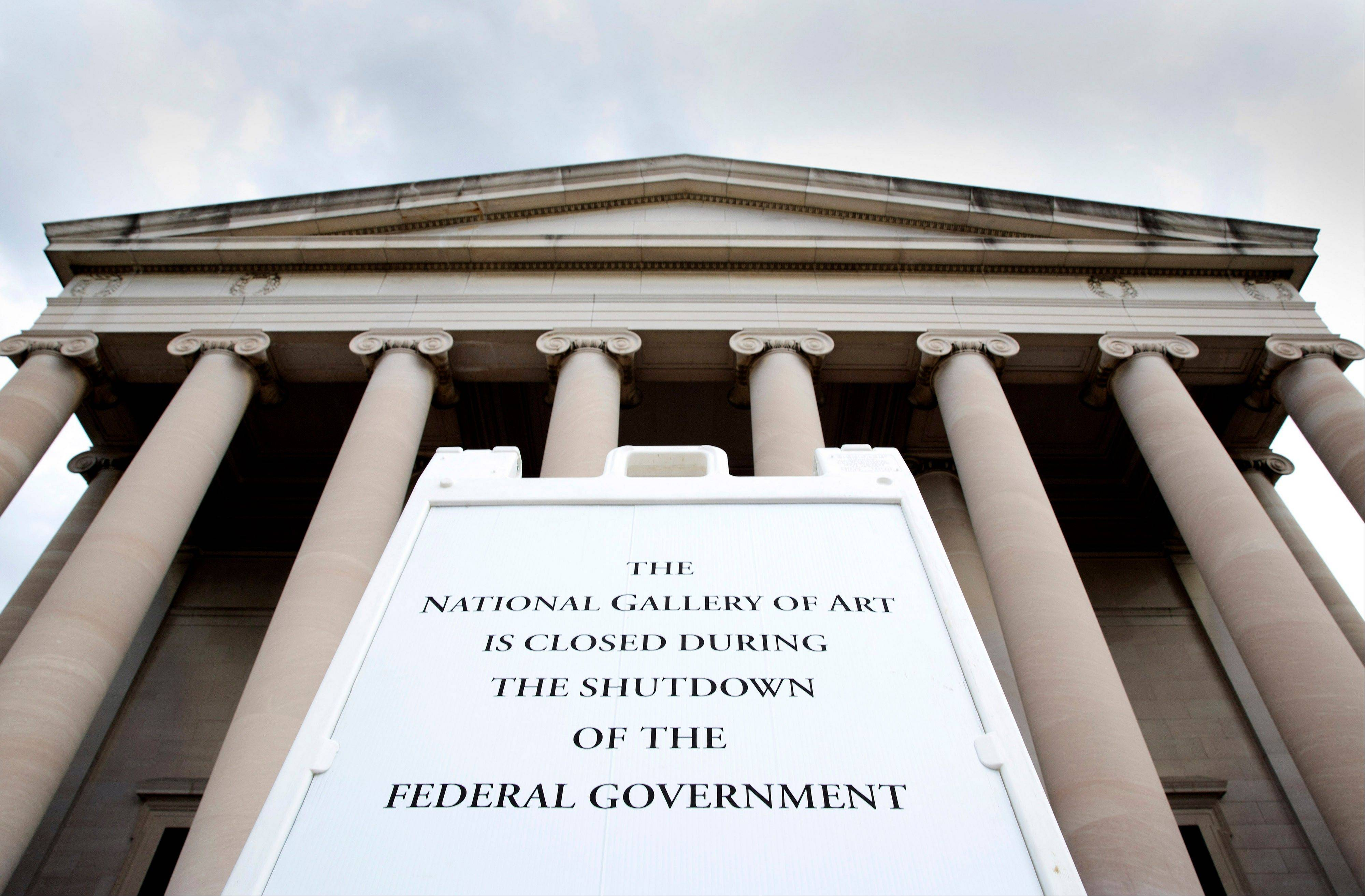 A sign announces the closure of the National Gallery due to the partial government shutdown in Washington, D.C., this week.