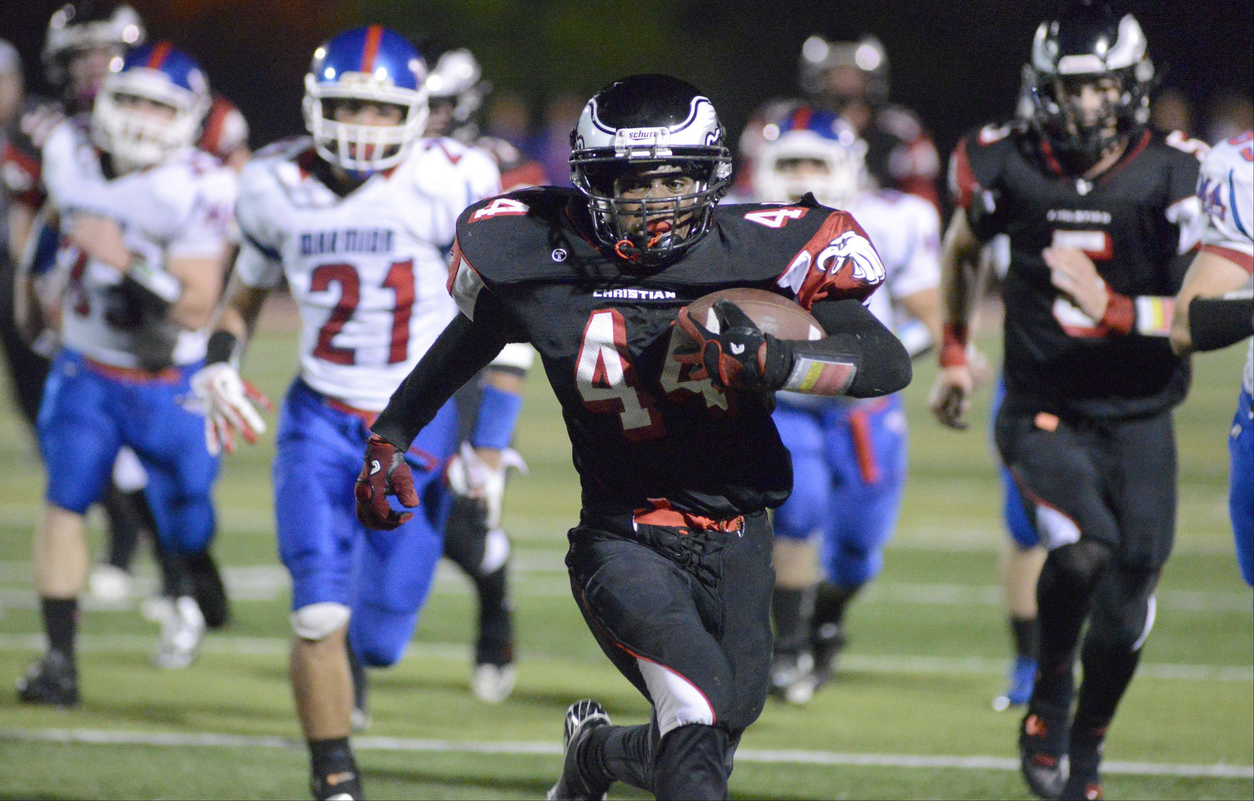 Aurora Christian�s Legend Smith sprints to the end zone in the second quarter on Friday, October 4.