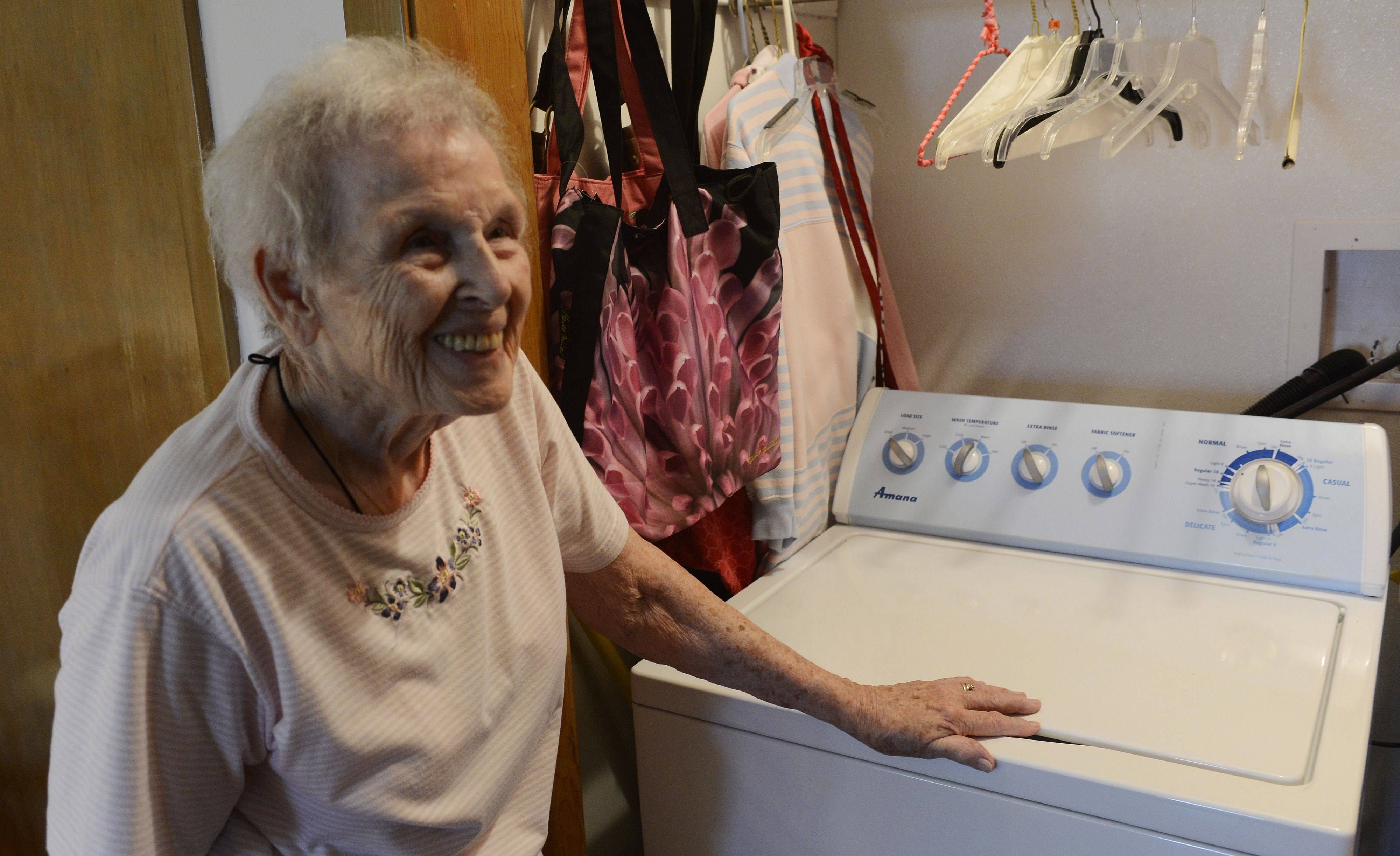 Margaret Fletcher of Des Plaines has a laundry room which was built into her bedroom closet so she does not have to go into the basement.