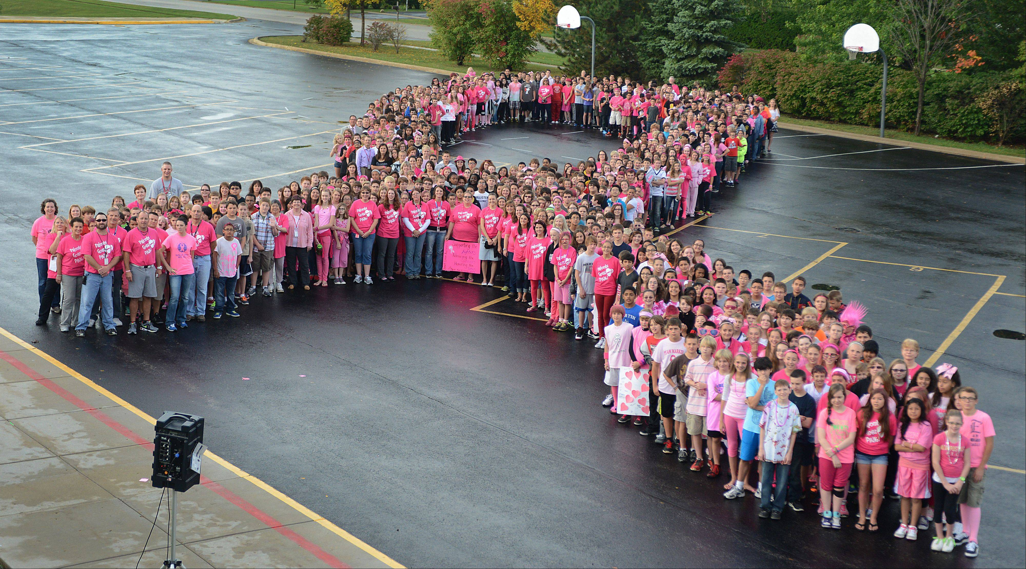Palombi Middle School students form a human ribbon after their Breast Cancer Awareness Walk in Lake Villa on Friday.