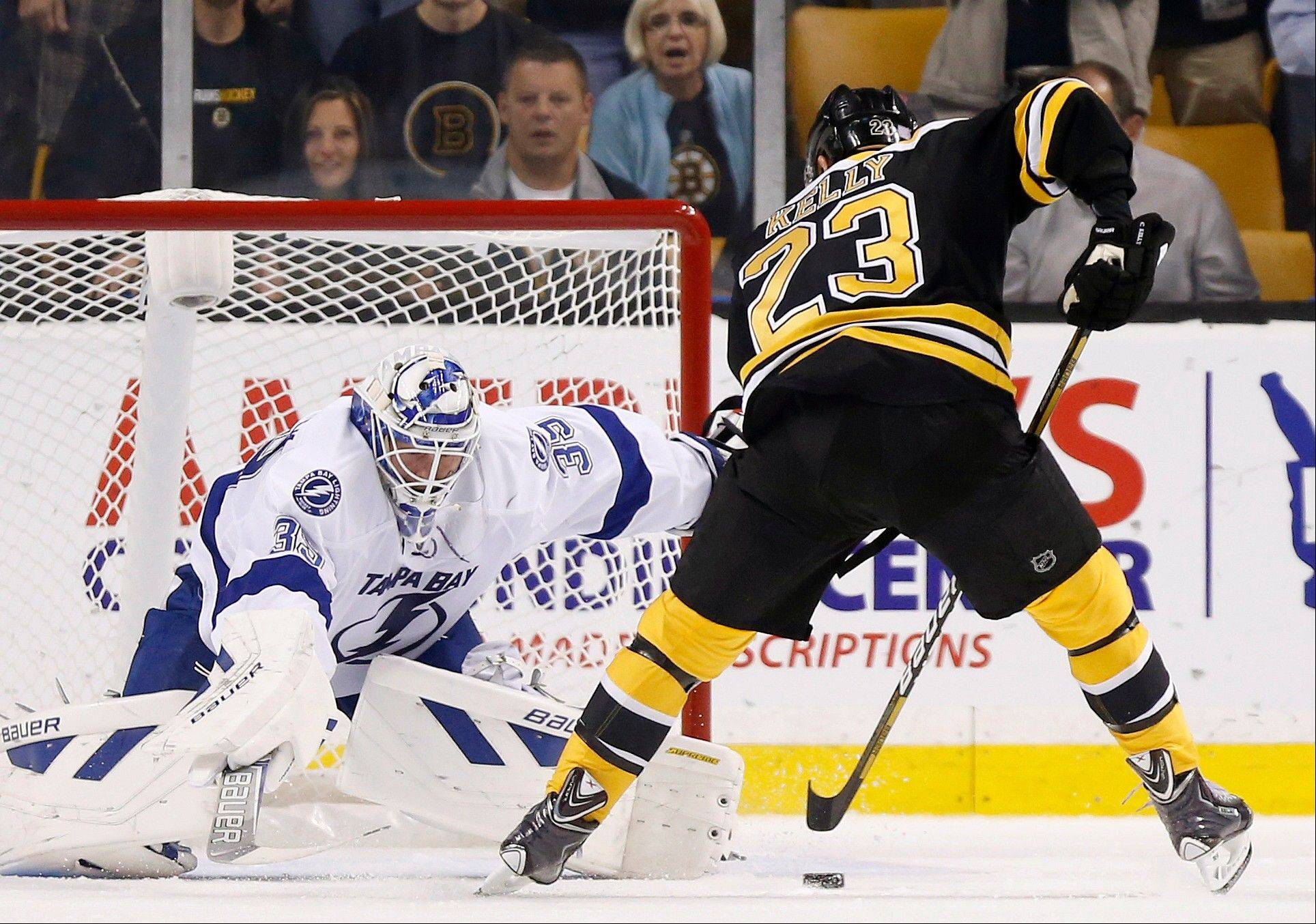 Boston Bruins' Chris Kelly (23) sets up to score on a penalty shot against Tampa Bay Lightning's Anders Lindback (39), of Sweden, in the first period of an NHL hockey game in Boston, Thursday, Oct. 3, 2013.