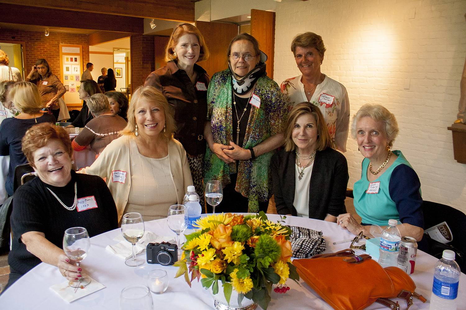 Susan Saint James (seated, second from right) joins classmates of 50 years ago at Woodlands Academy of the Sacred Heart Reunion Weekend during which she was the keynote speaker Oct. 4.  Also pictured are, from left, Peggy Connelly Karol, Geri-Anne Benning, Mariclaire Halligan Dixon, Mary Ann Entrup, Colleen Sullivan Farrell, Saint James and Suzie Floberg Hayes.