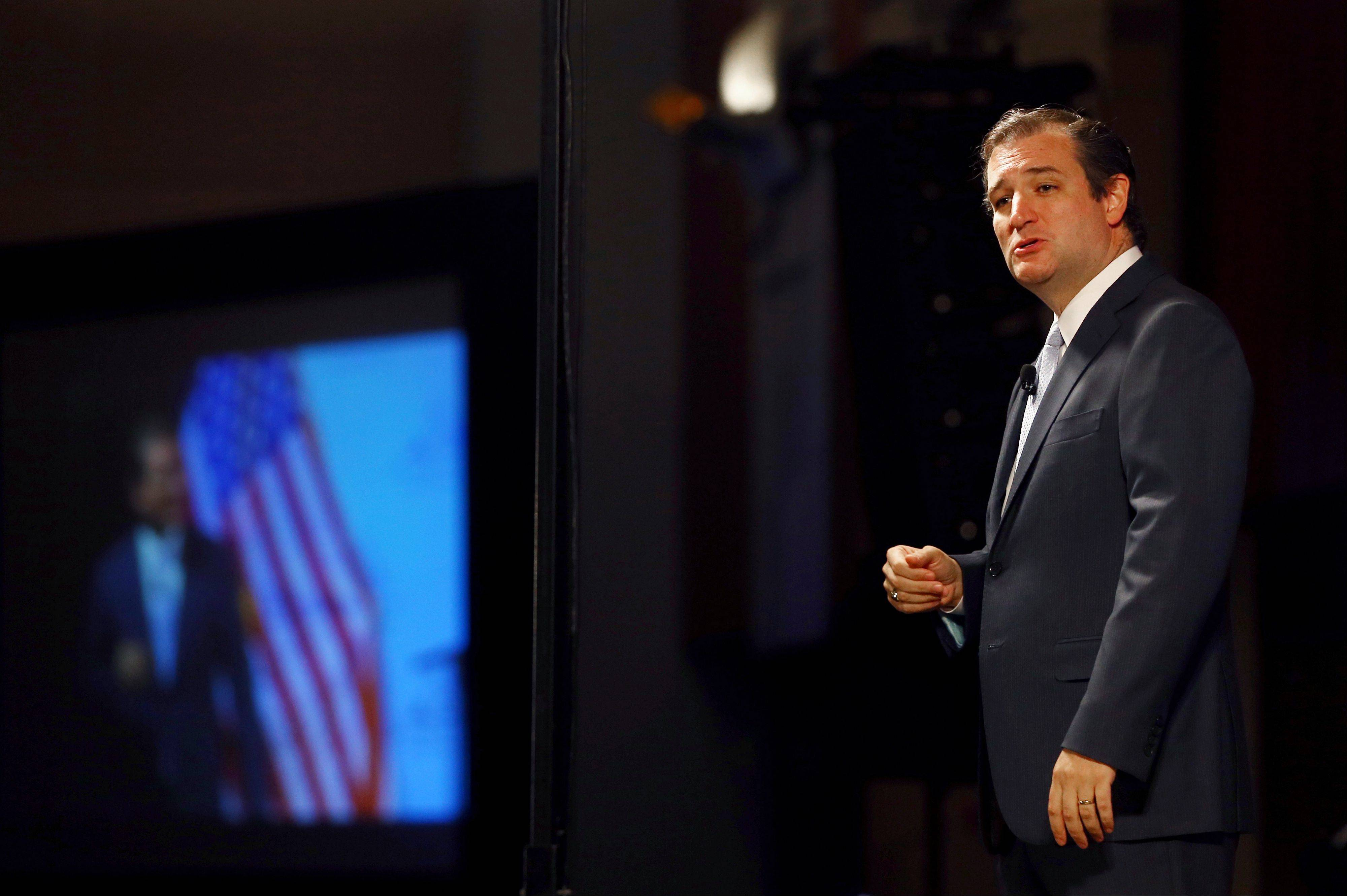 "Texas Sen. Ted Cruz speaks at the Family Foundation of Virginia Annual Gala, Greater Richmond Convention Center, Saturday in Richmond, Va. Quoting from the Bible, Texas Sen. Ted Cruz told a socially conservative advocacy group that President Barack Obama's Democratic administration is ""the most hostile to religious liberty"" in American history and the health reform law is its most formidable weapon against them."
