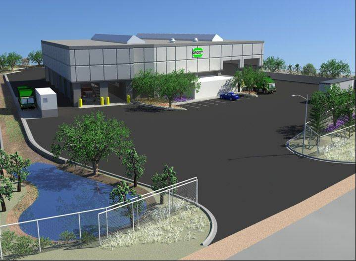 This is a rendering of the waste transfer station being proposed in Round Lake Park by Groot Industries.