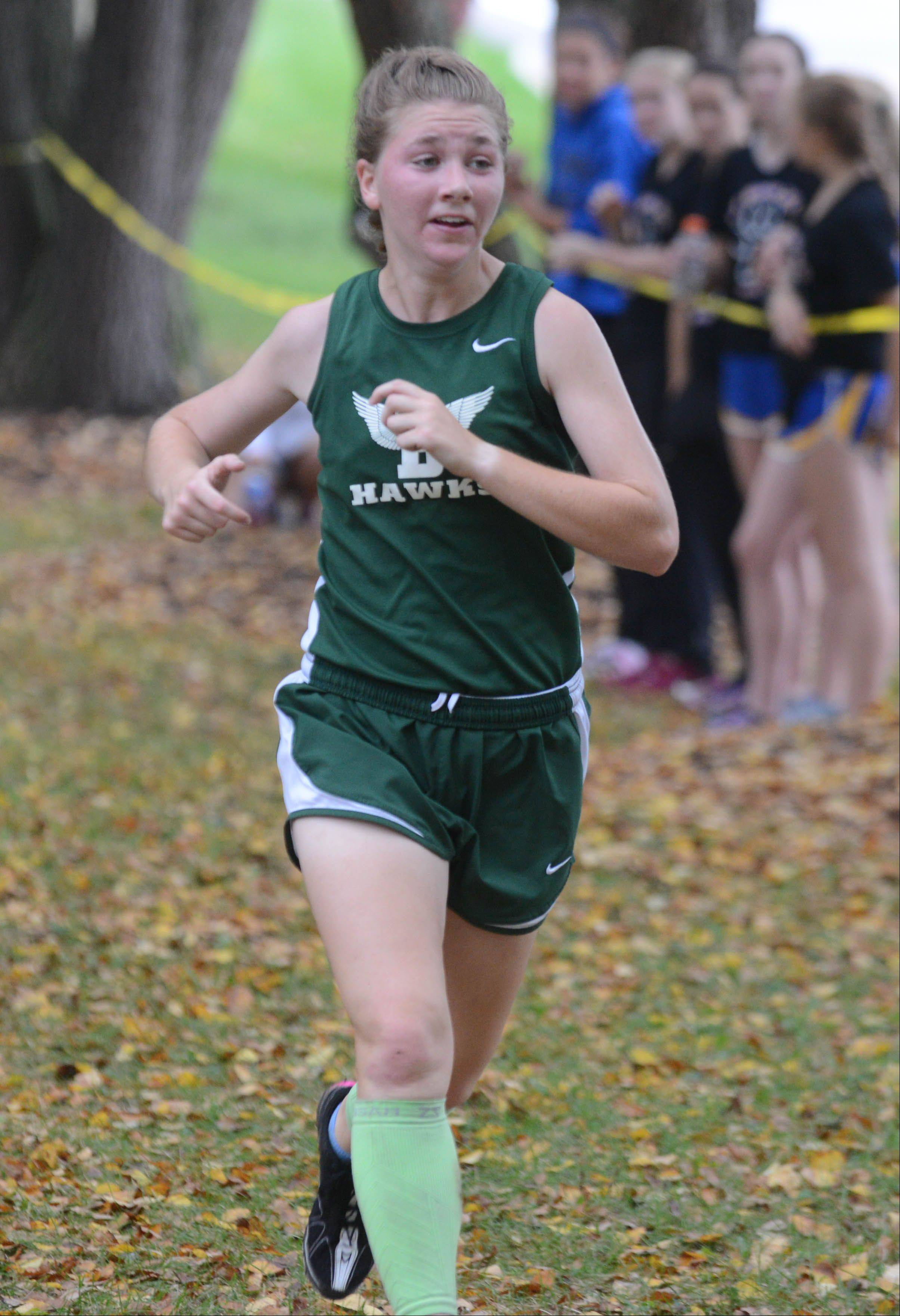 Mariah Brown of Bartlett took part in the Wheaton North girls cross country invitational Saturday in Wheaton.