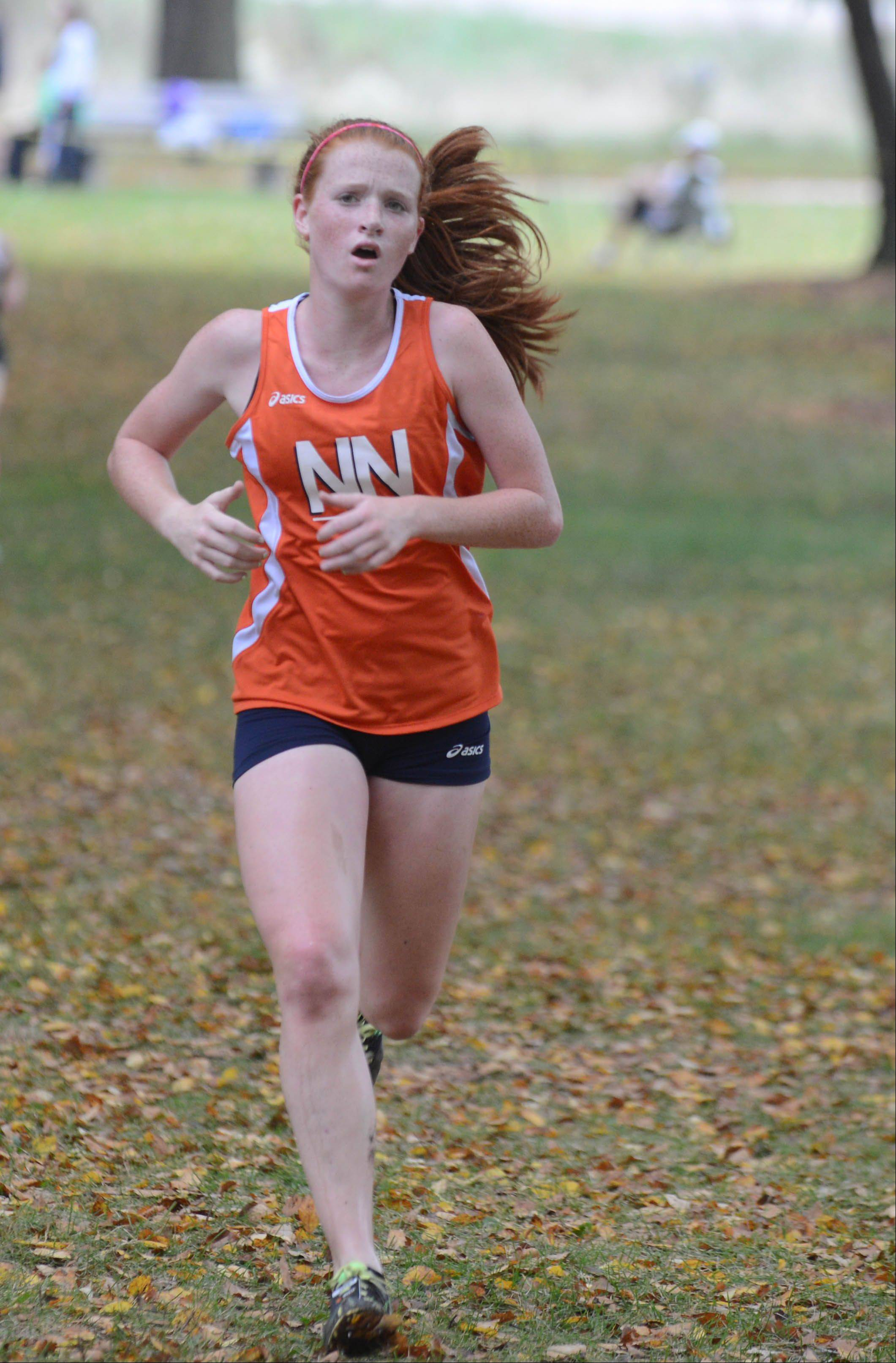 Judy Pendergast of Naperville North took part in the Wheaton North girls cross country invitational Saturday in Wheaton.