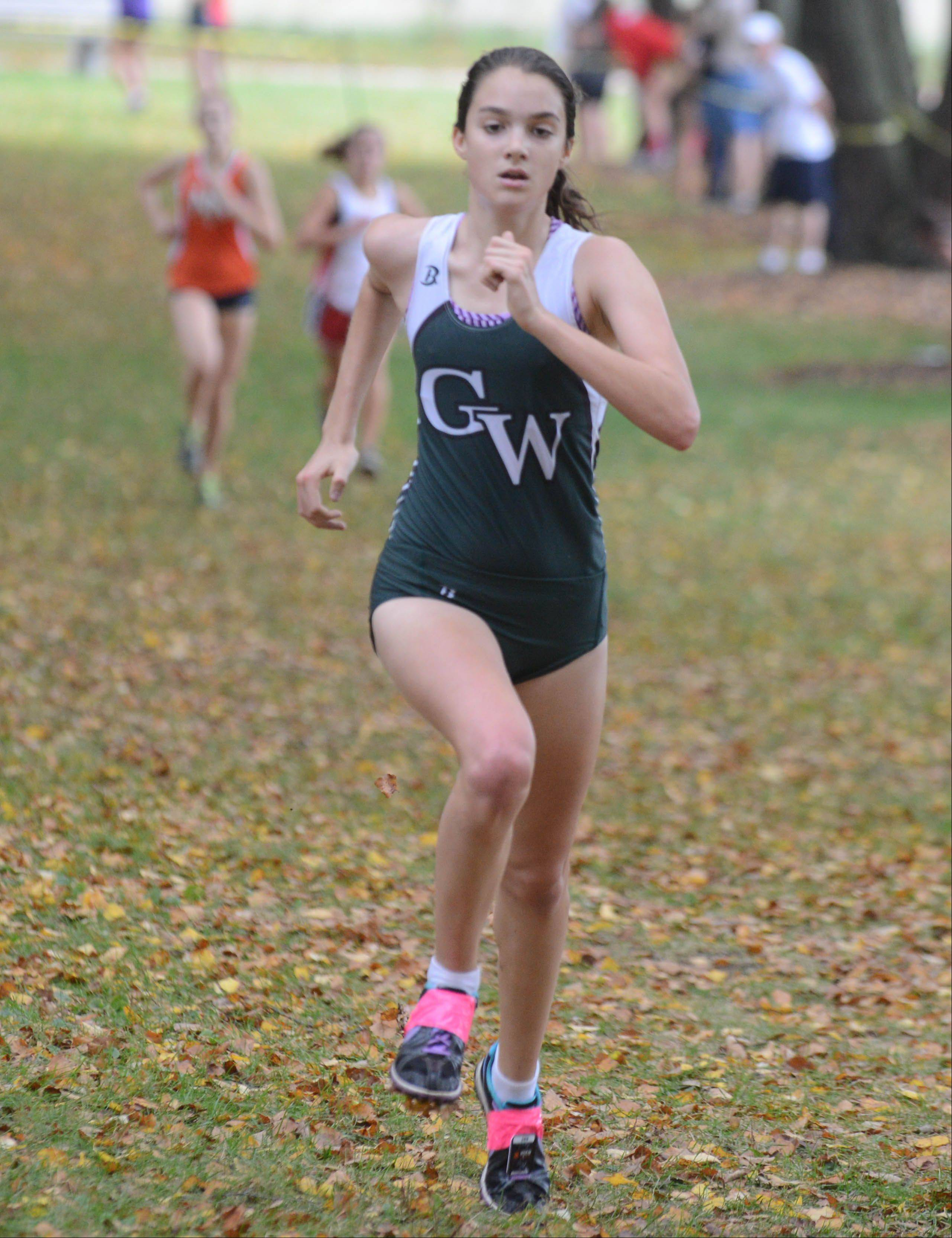 Lisa Luczak of Glenbard West took part in the Wheaton North girls cross country invitational Saturday in Wheaton.