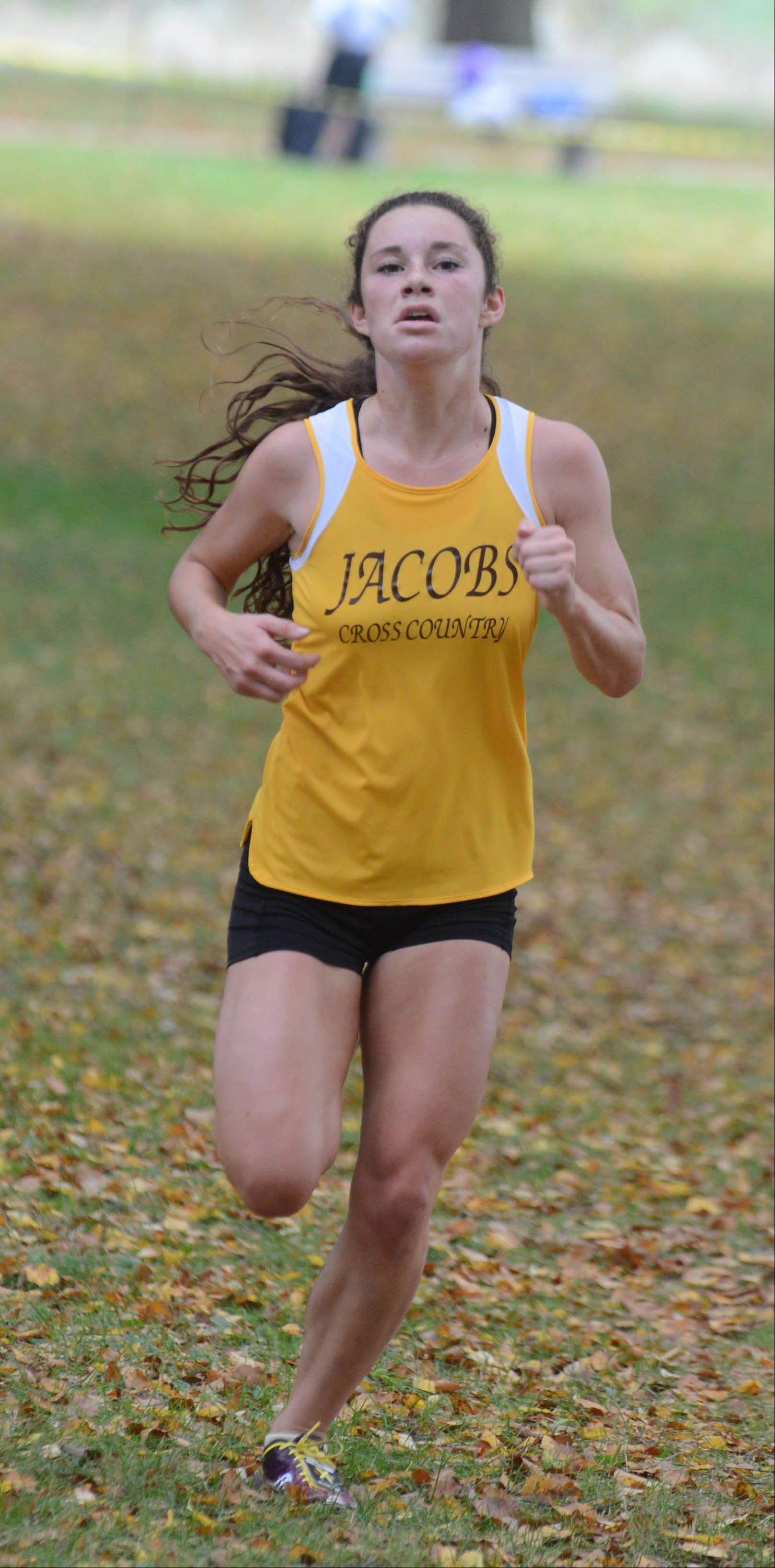 Molly Barnes of Jacobs took part in the Wheaton North girls cross country invitational Saturday in Wheaton.