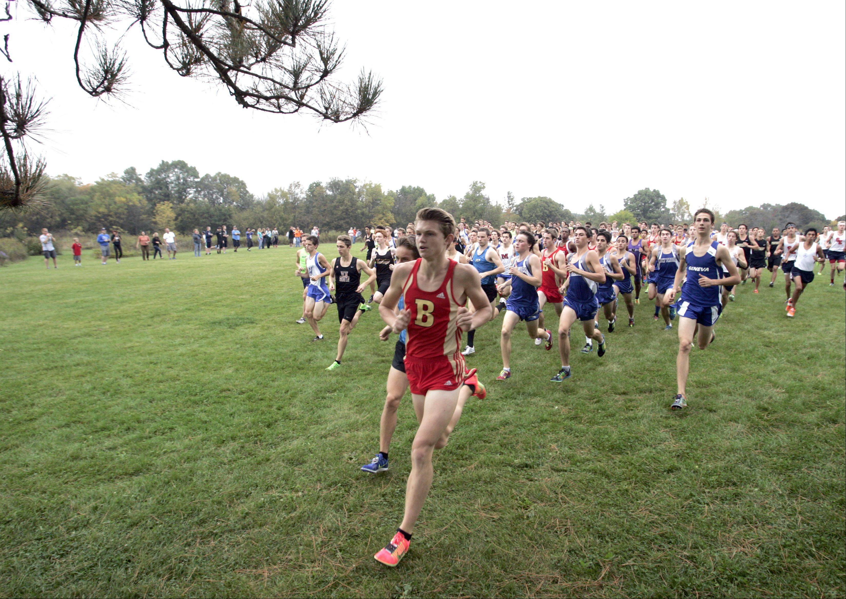 The boys move out of the start during boys cross country at LeRoy Oakes in St. Charles Saturday.