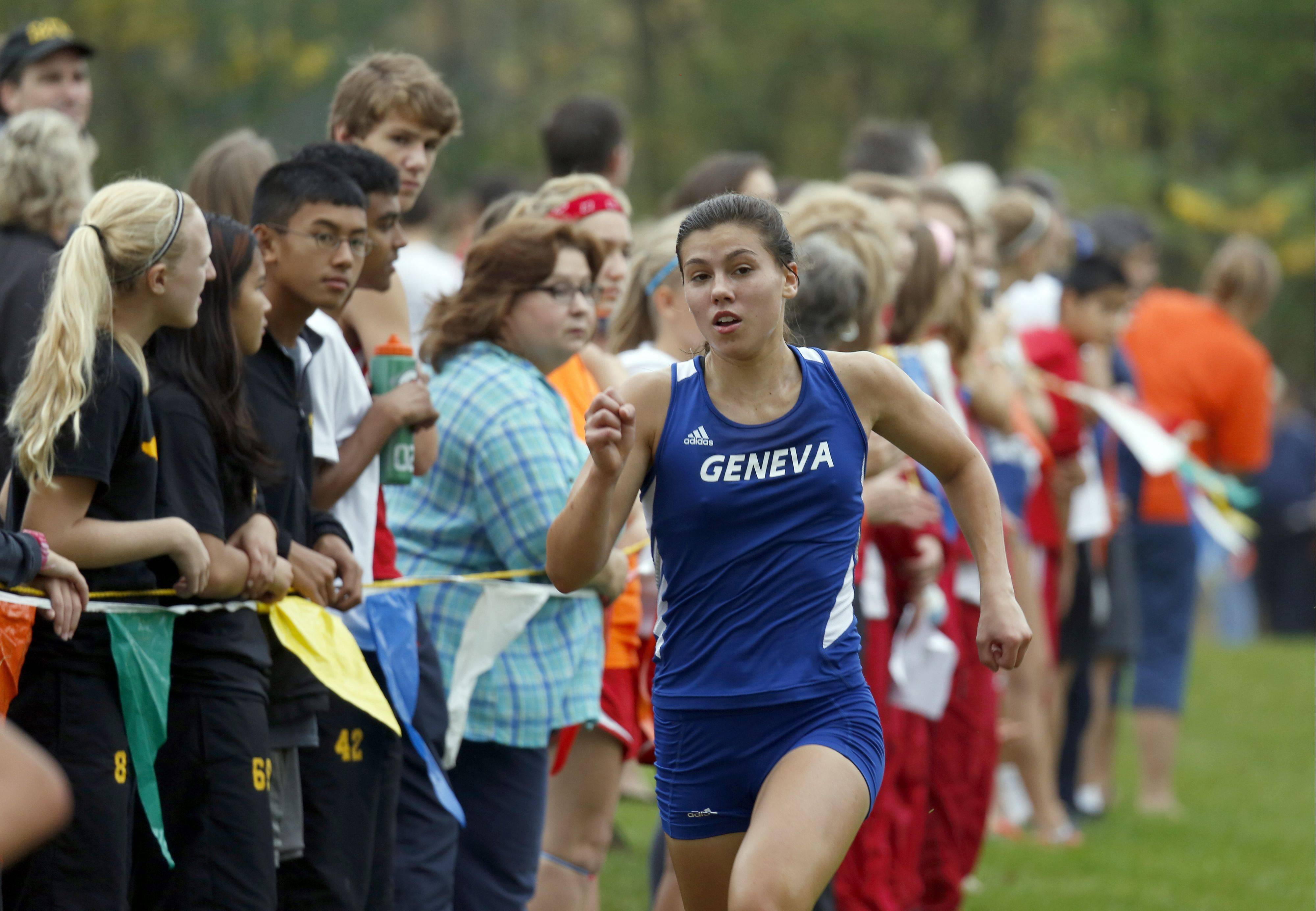 Kathryn Adelman led Geneva in seventh Saturday at the St. Charles North Invitational at LeRoy Oakes in St. Charles.