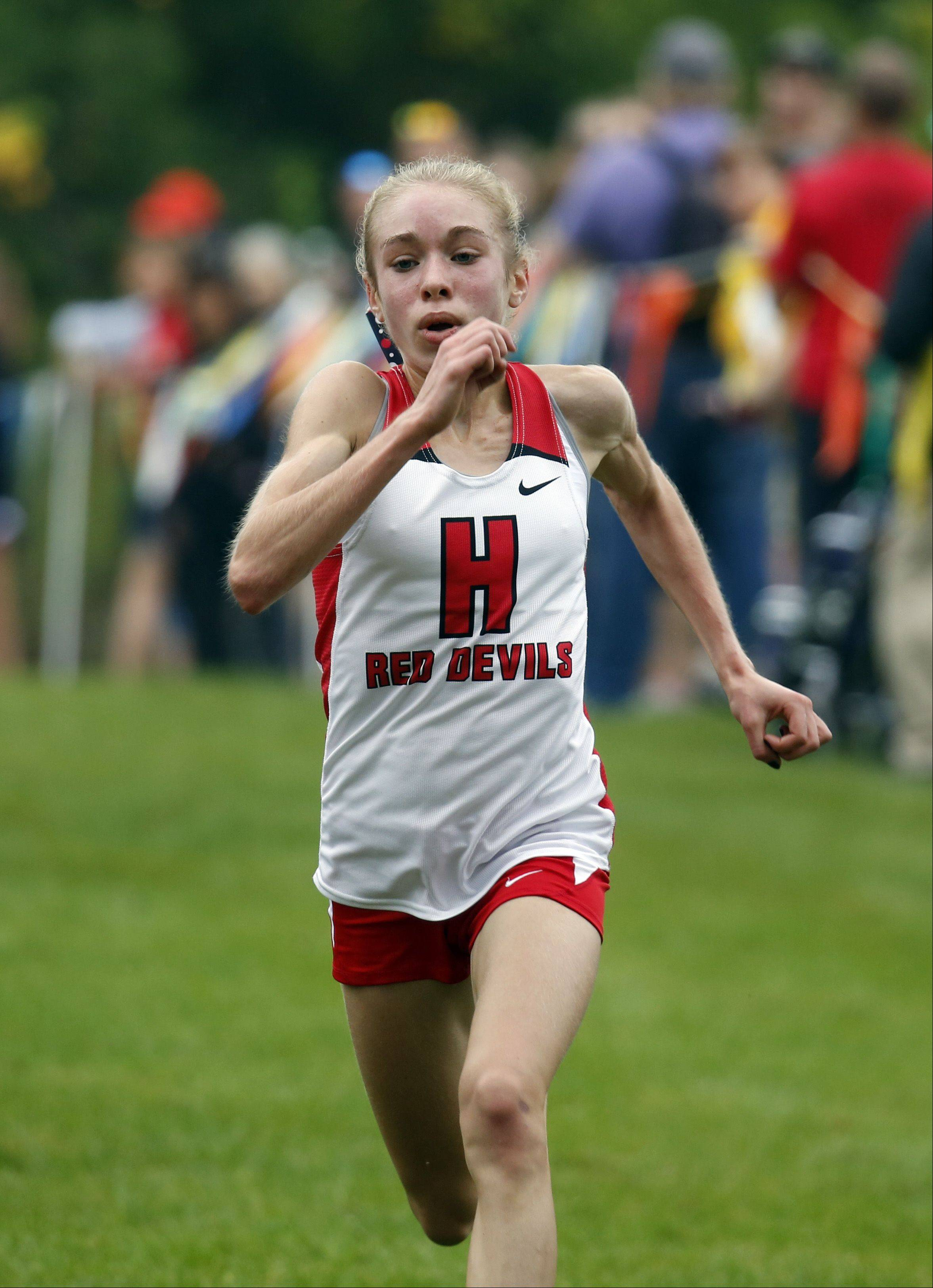 Hinsdale Central's Alexa Haff on the way to first during girls cross country at LeRoy Oakes in St. Charles Saturday.