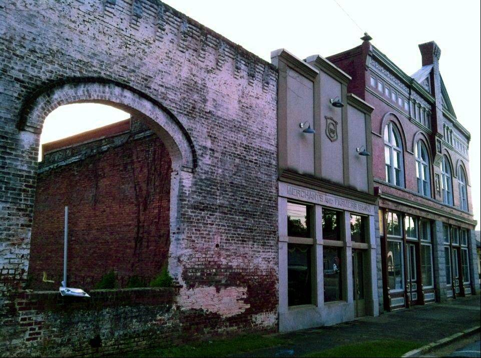 The archways of an old building in Grantville, Ga., were used to film a scene in for AMC�s �The Walking Dead.� Tourists come to the west Georgia town to see the wall and other nearby buildings where scenes from the show were filmed.