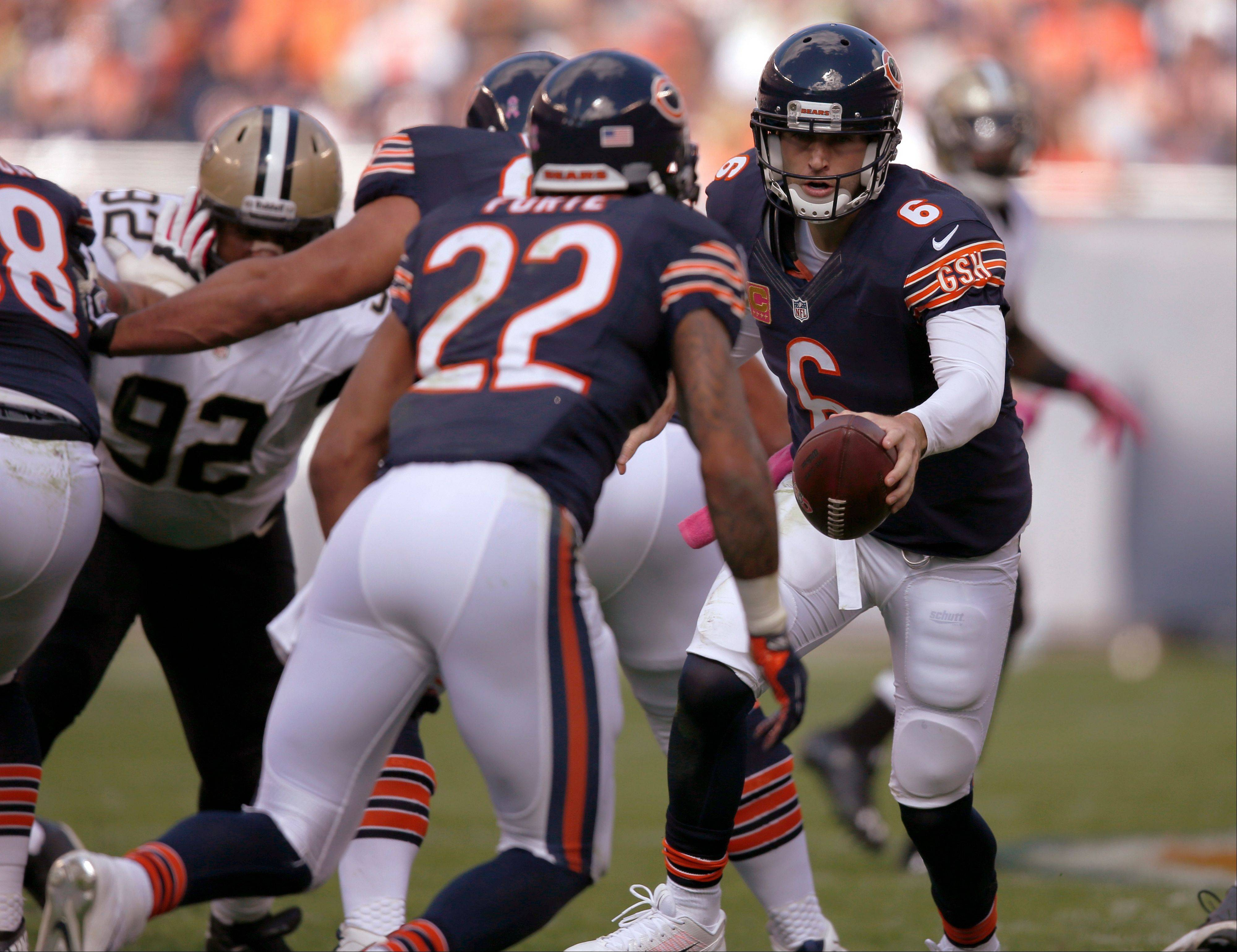 Another rocky start by quarterback Jay Cutler and the Bears� offense Sunday created a hole that was too deep to escape against the undefeated Saints.