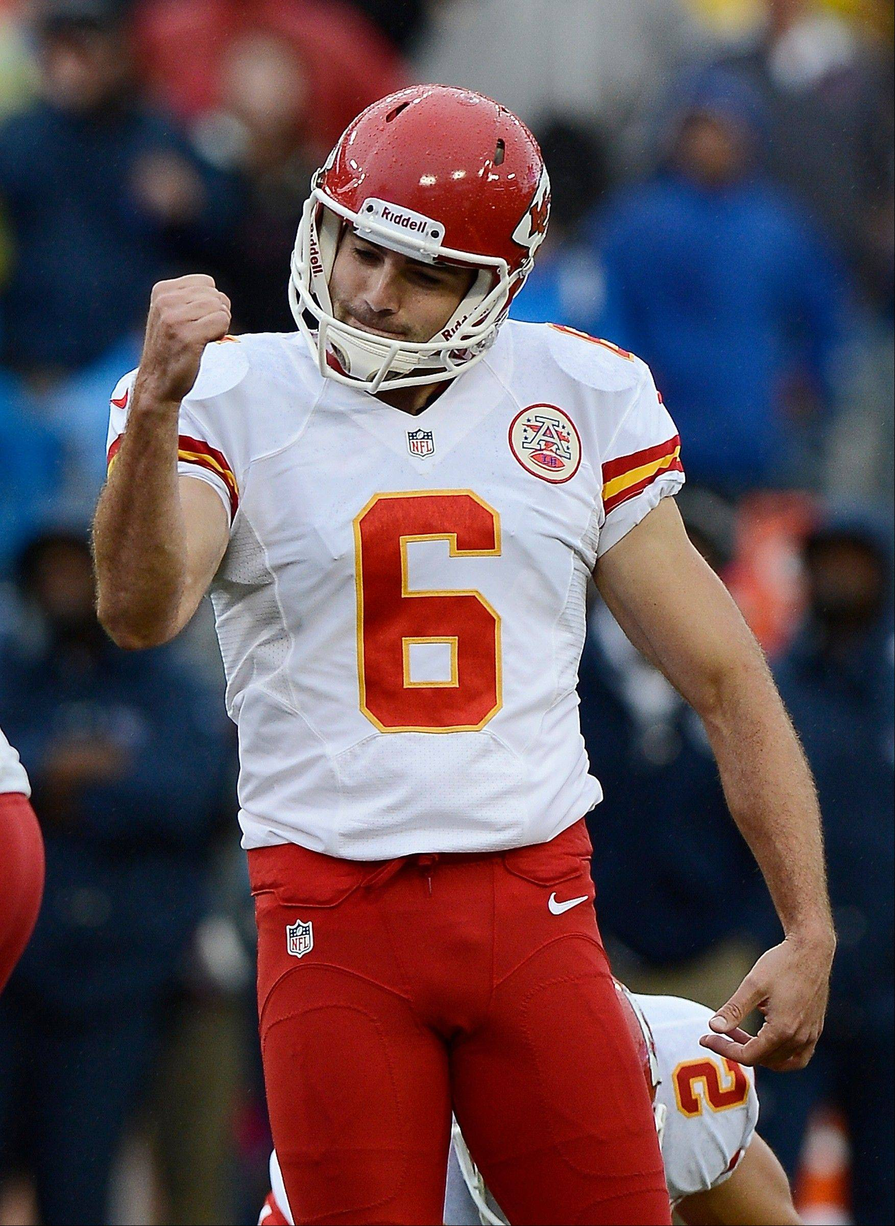 Kansas City Chiefs kicker Ryan Succop celebrates after making a 33-yard field goal against the Tennessee Titans in the fourth quarter of an NFL football game on Sunday, Oct. 6, 2013, in Nashville, Tenn. The Chiefs won 26-17.