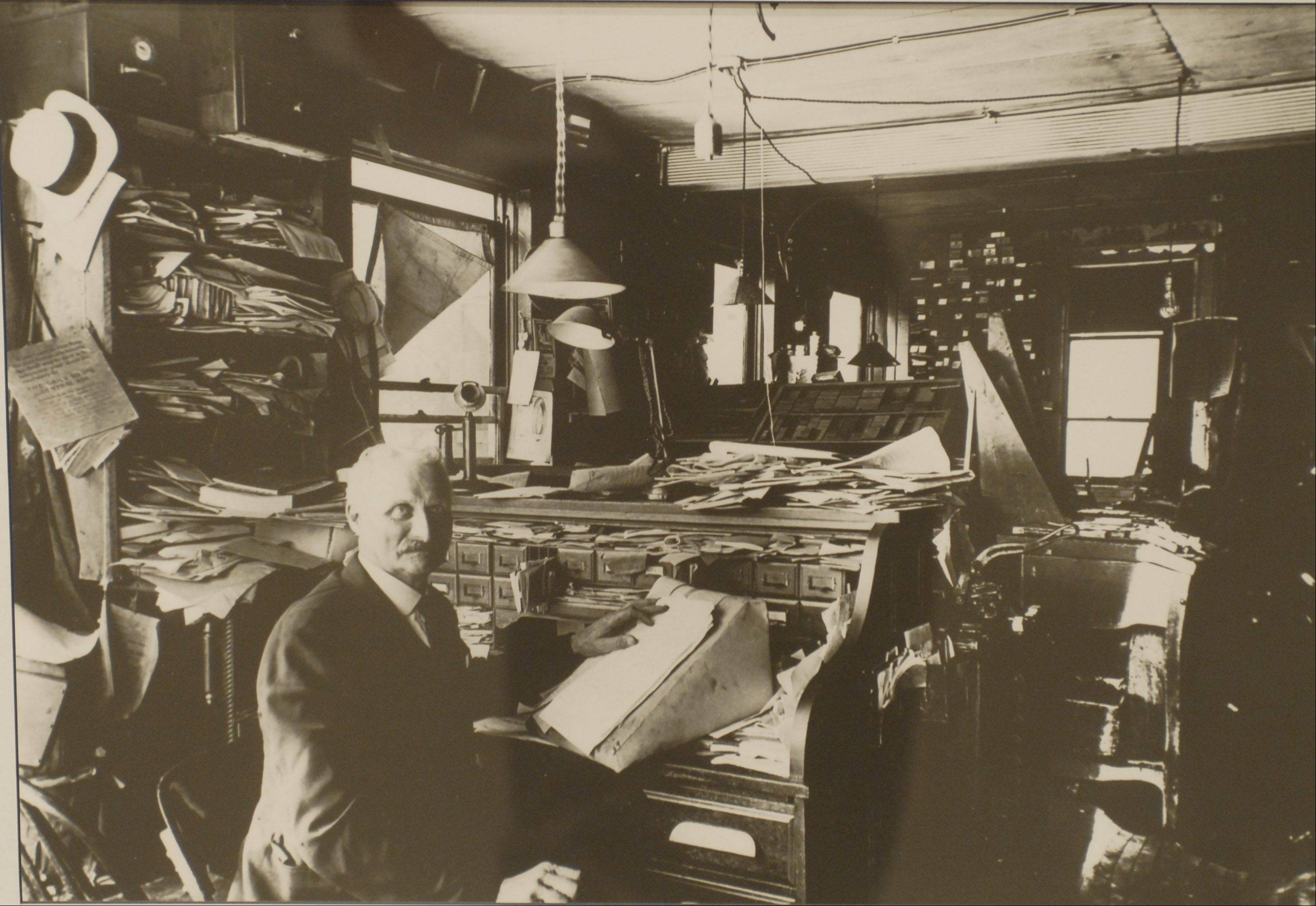 Hosea C. Paddock at his desk in the 1800s.