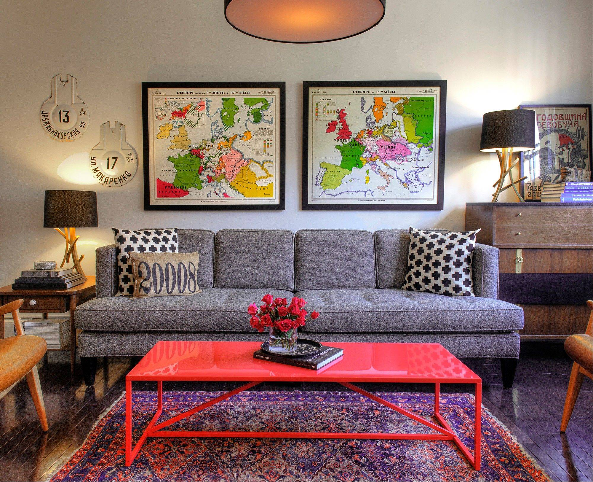 A small space and a small budget challenge a young couple to refine their vision; a view of the living room in Kiera and Michael Kushlan's 750-square foot condo in Washington.