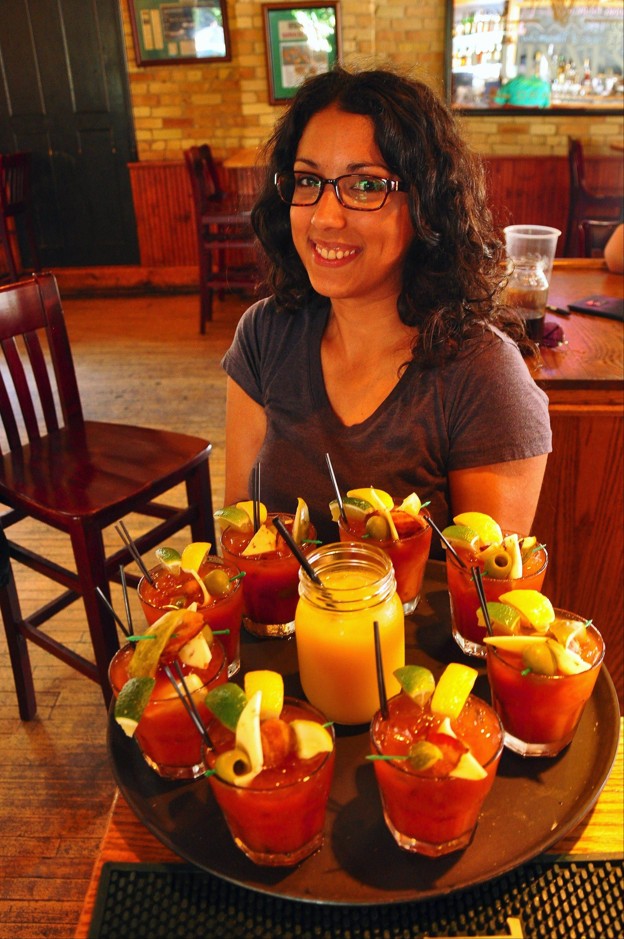 Bloody Marys and Bloody Mollys are served up at The Irish Pub during Milwaukee Food Tours' Bloody Mary Brunch tour. For those not imbibing, there's orange juice.