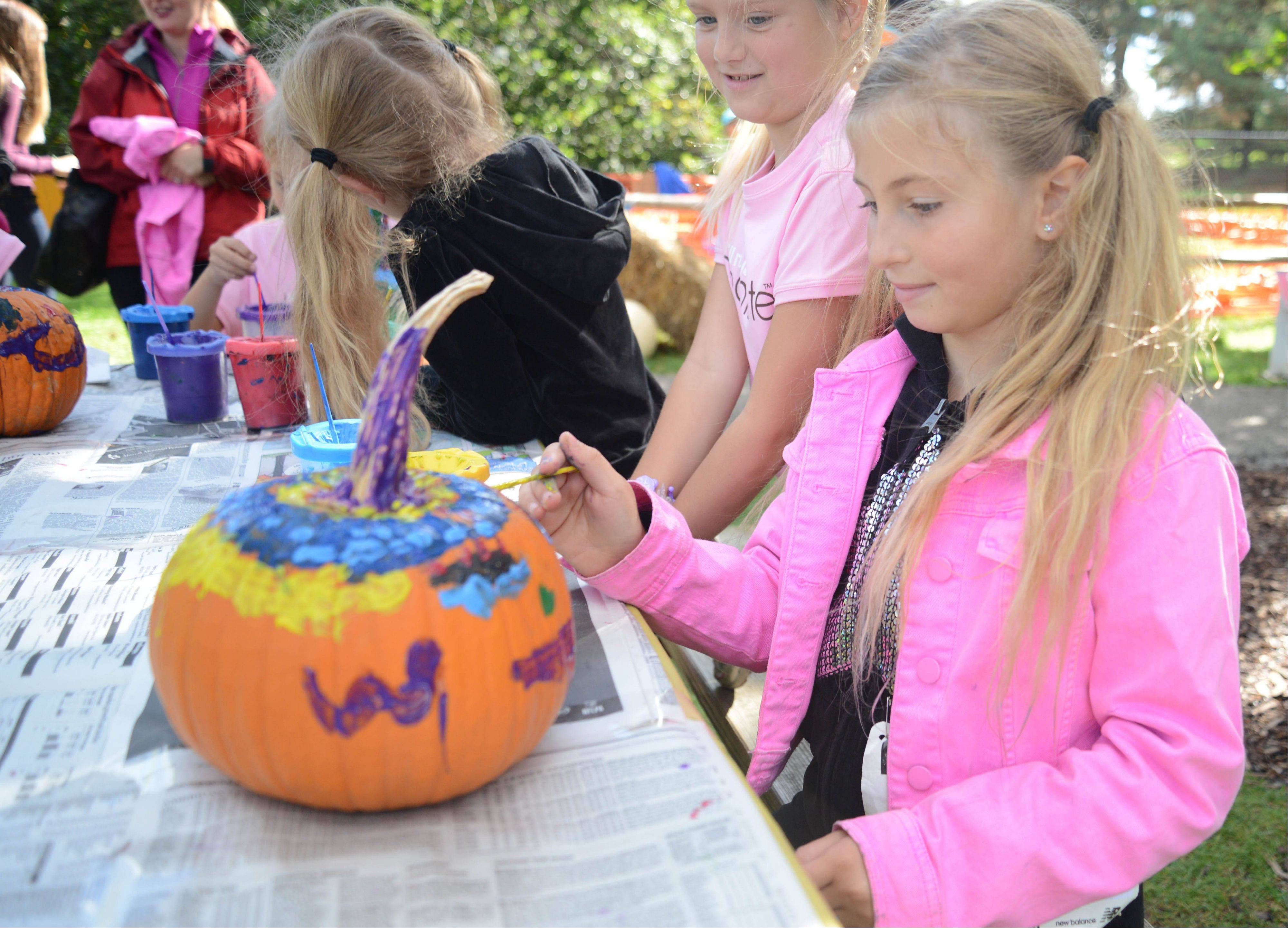 Lorelai Francis, 7, of Addison paints a pumpkin Sunday at the Morton Arboretum's Fall Color Festival Sunday. The event kicked off Sunday with a 5K run and walk and included seasonal food, a Scarecrow Trail around Meadow Lake and numerous other activities.