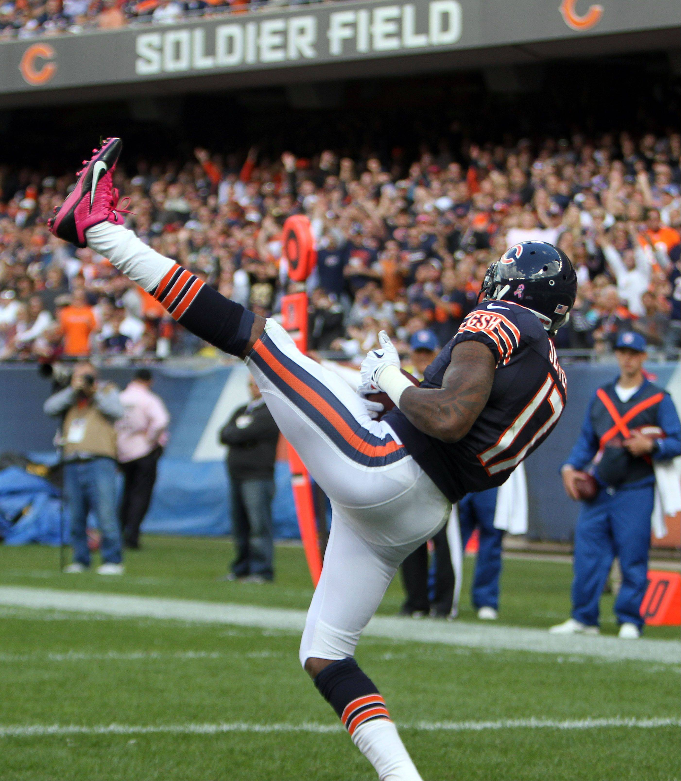 Chicago Bears wide receiver Alshon Jeffery catches a 3rd quarter touchdown during the Bears 26-18 loss to the New Orleans Saints Sunday at Soldier Field in Chicago.