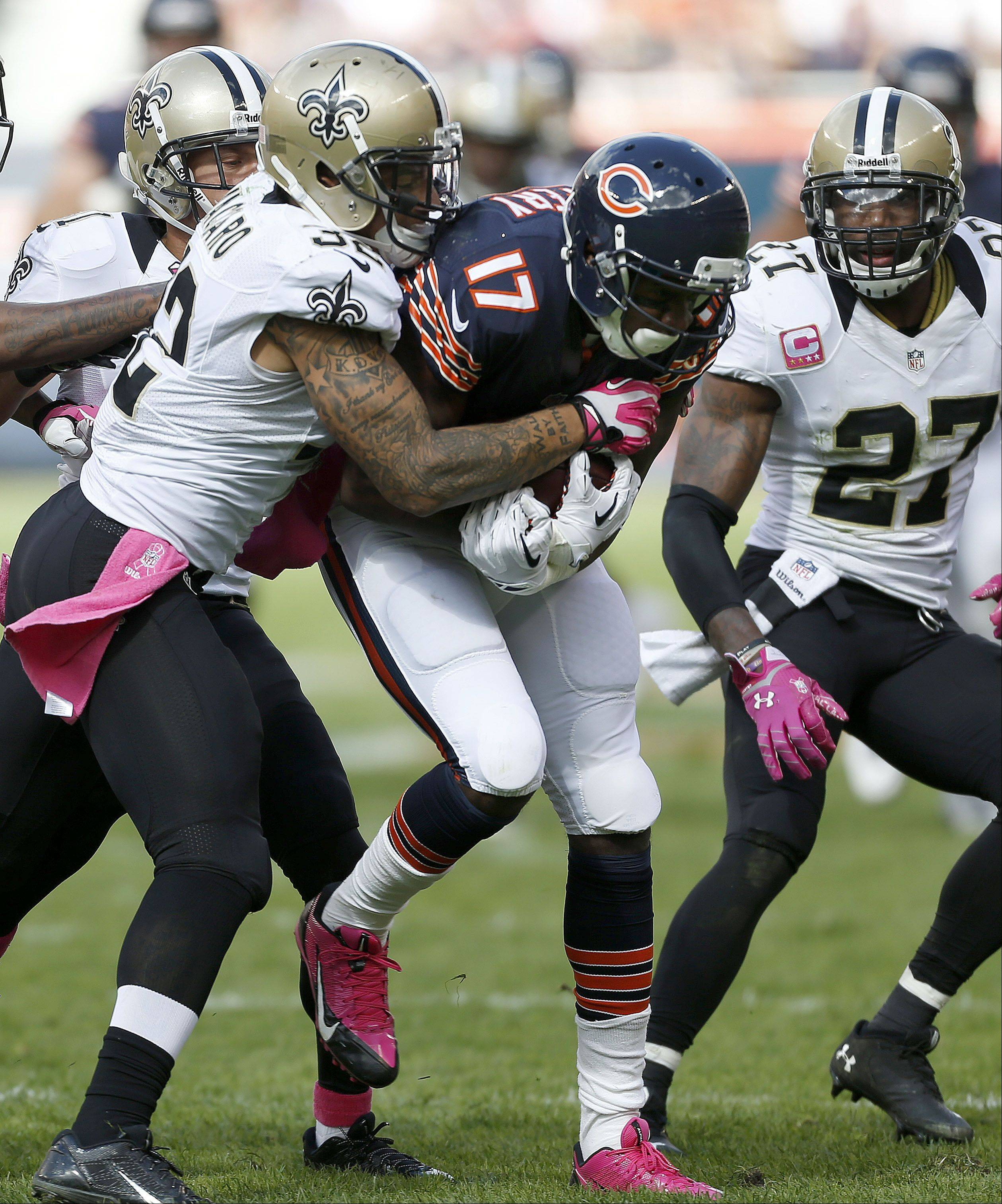 Chicago Bears wide receiver Alshon Jeffery runs after a catch during their 26-18 loss Sunday.