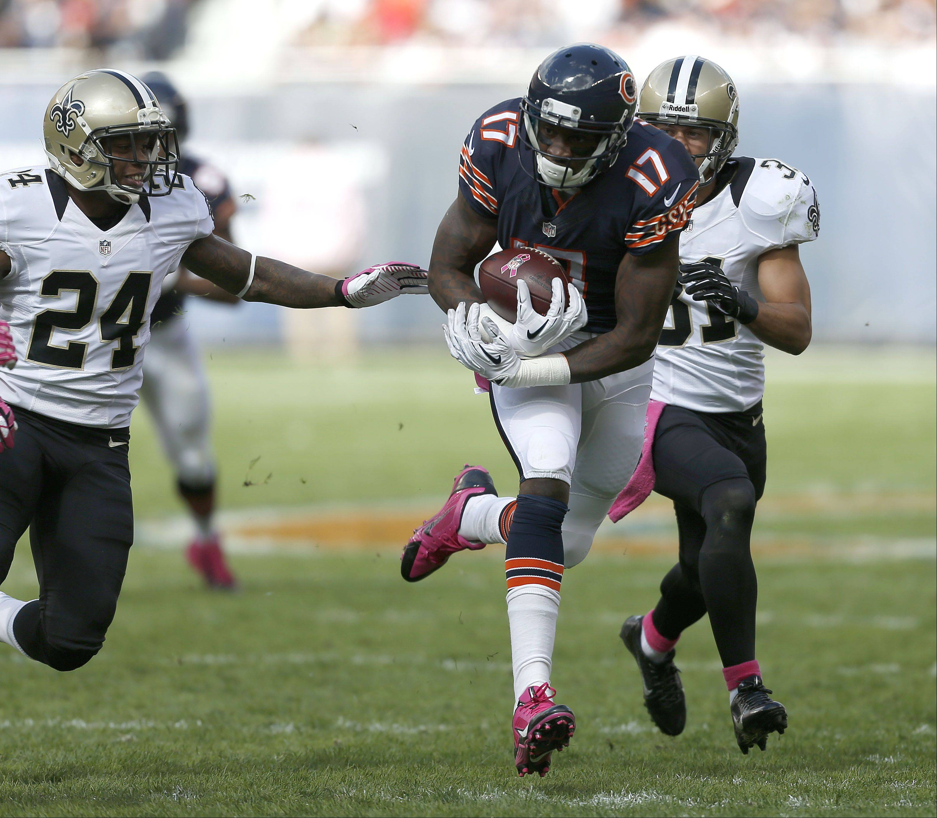 Chicago Bears wide receiver Alshon Jeffery runs after a long reception.