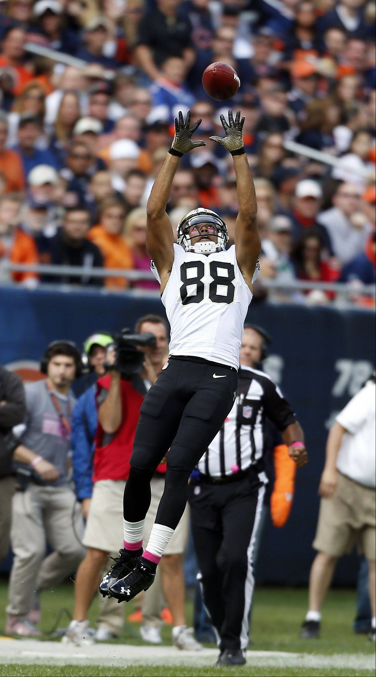 New Orleans Saints wide receiver Nick Toon goes up high for a catch.