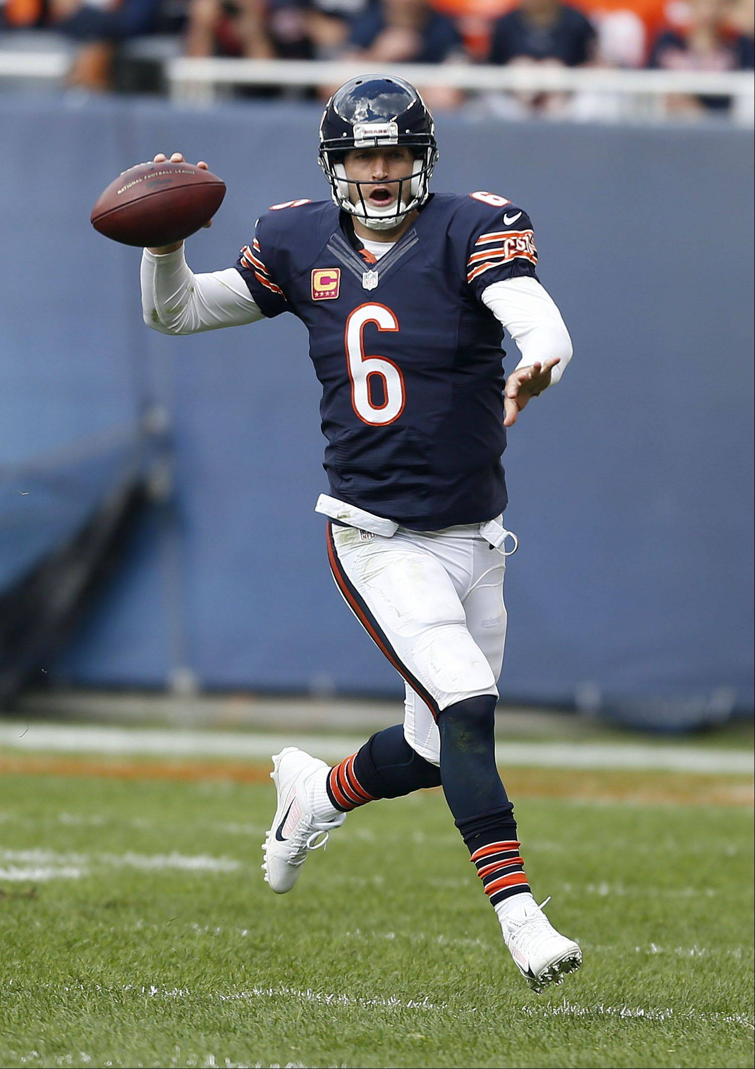 Chicago Bears quarterback Jay Cutler looks to pass Sunday at Soldier Field in Chicago.