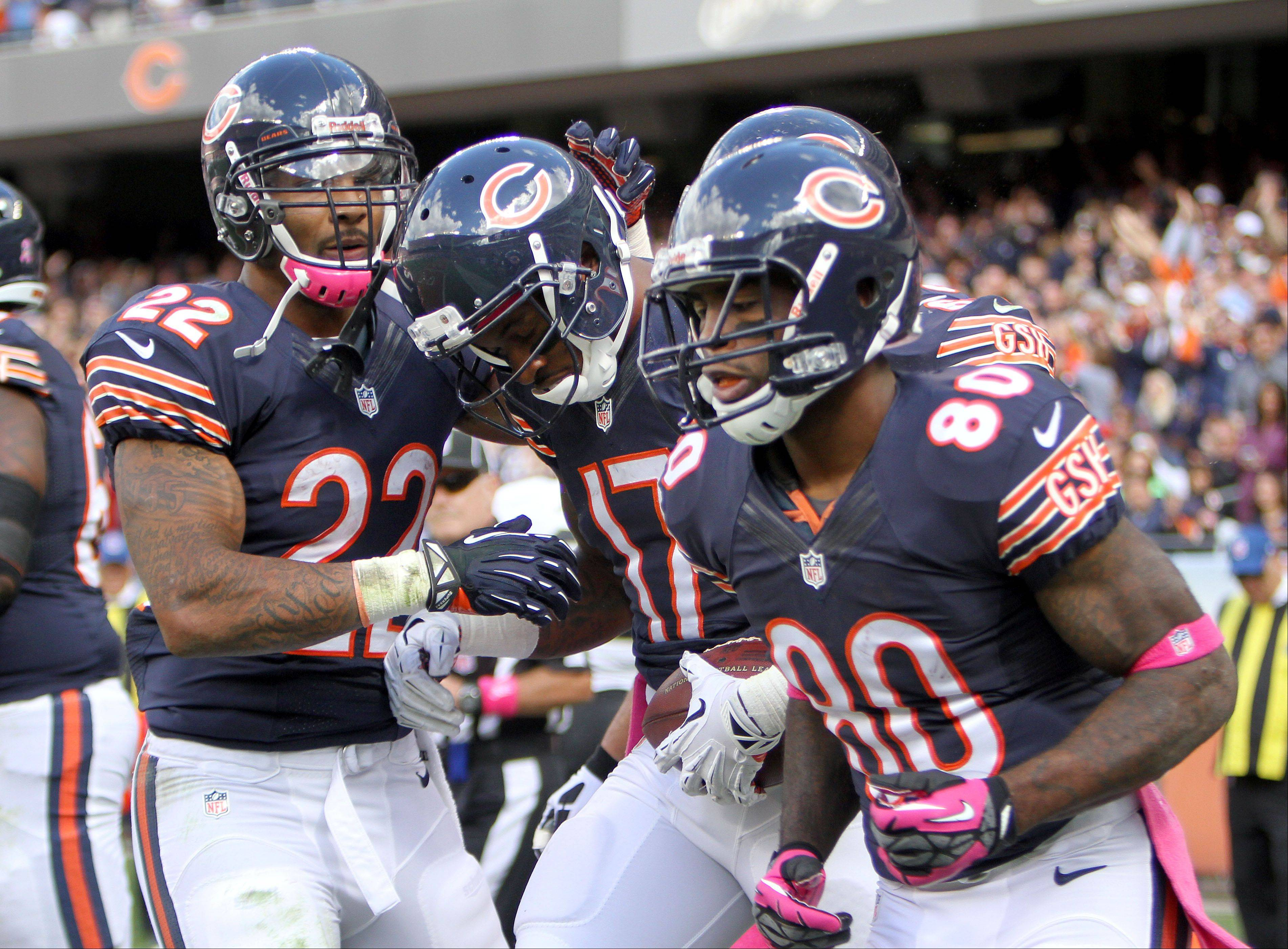 Chicago Bears wide receiver Alshon Jeffery is congratulated by teammates after his 3rd quarter touchdown.