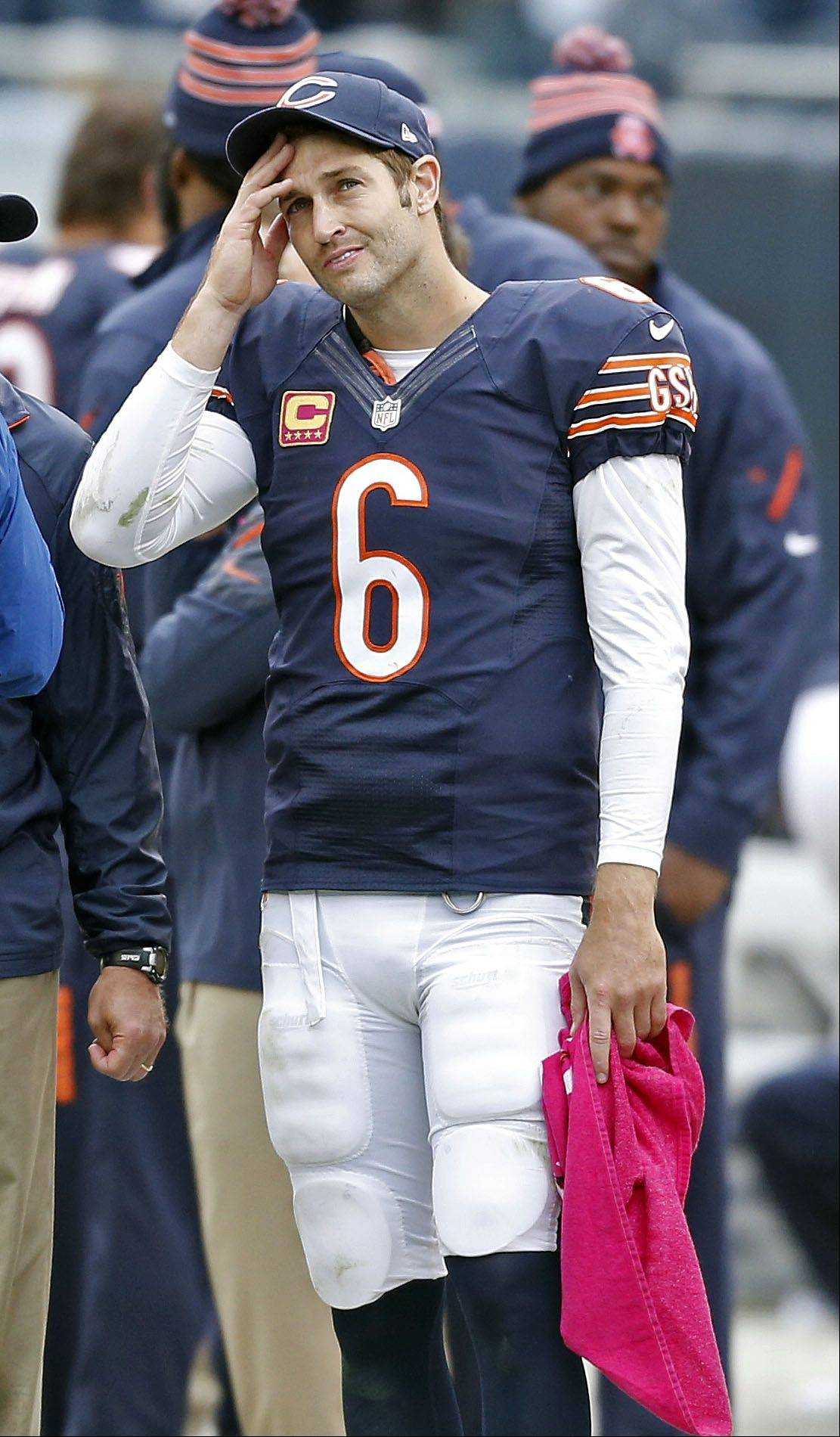 Chicago Bears quarterback Jay Cutler looks at the clock during the Bears 26-18 loss to the New Orleans Saints Sunday.